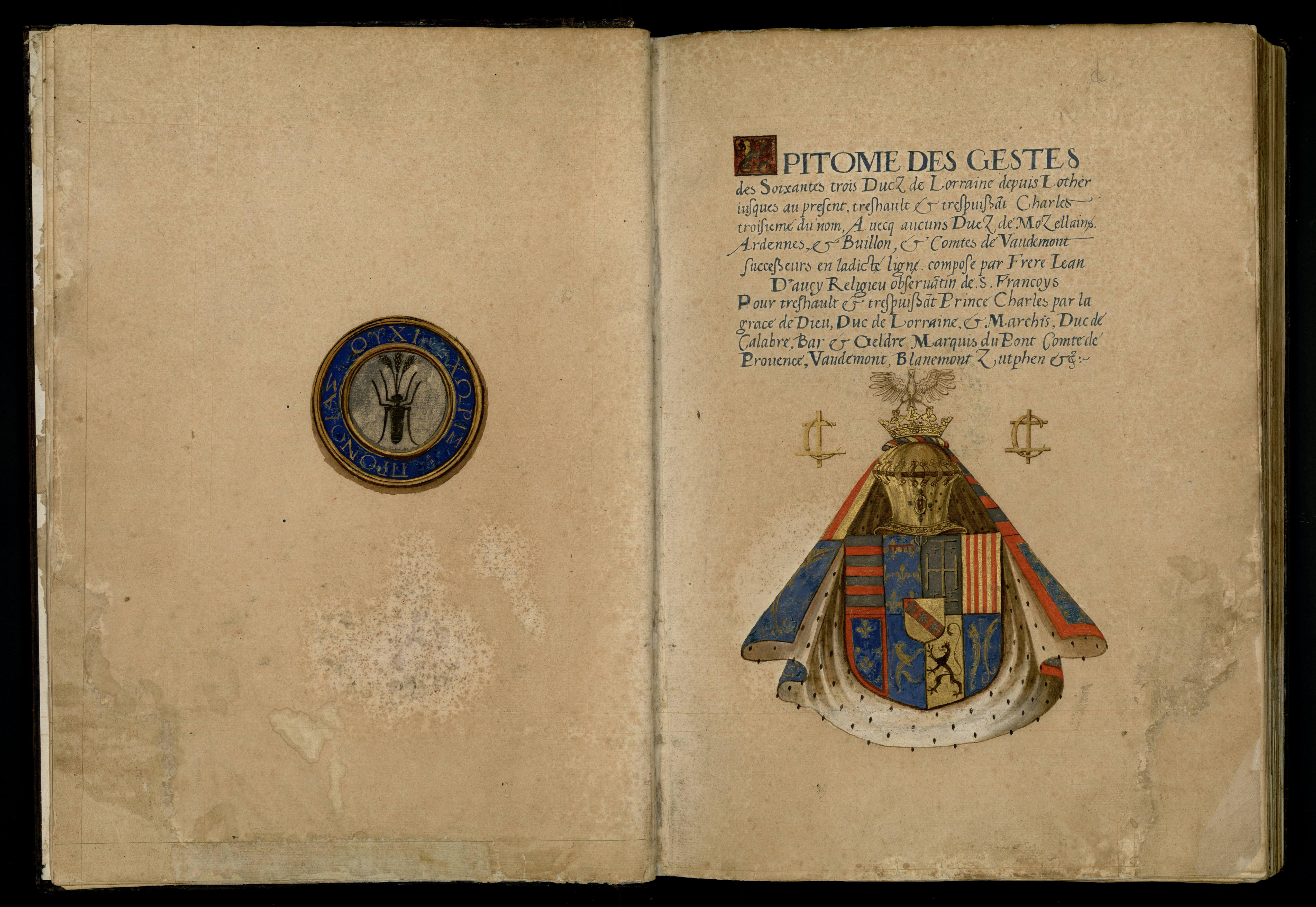 Contenu du Epitome des gestes des soixantes trois ducz de Lorraine depuis Lother jusques […] Charles troisième du nom […]
