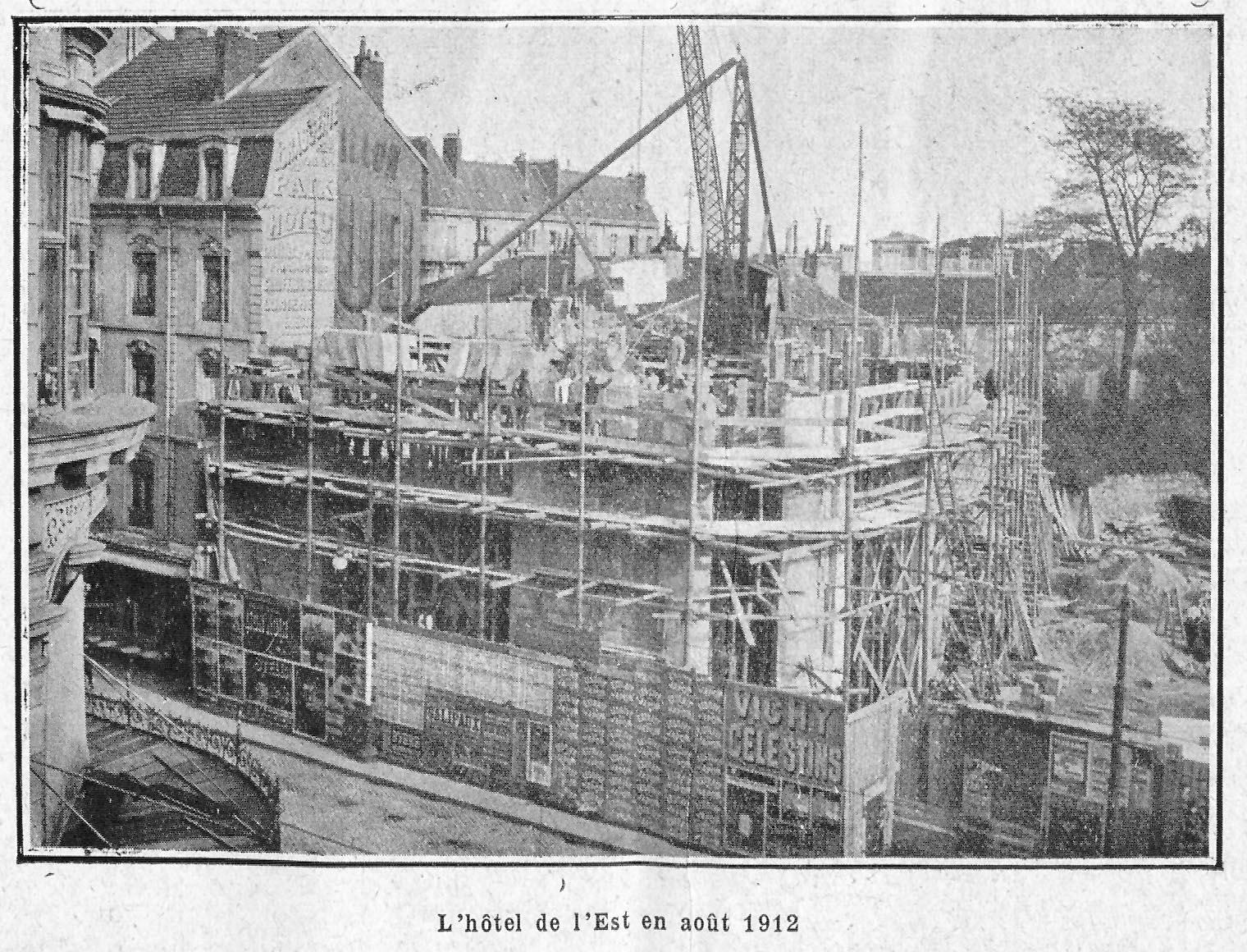 Contenu du L'hôtel de l'Est en août 1912