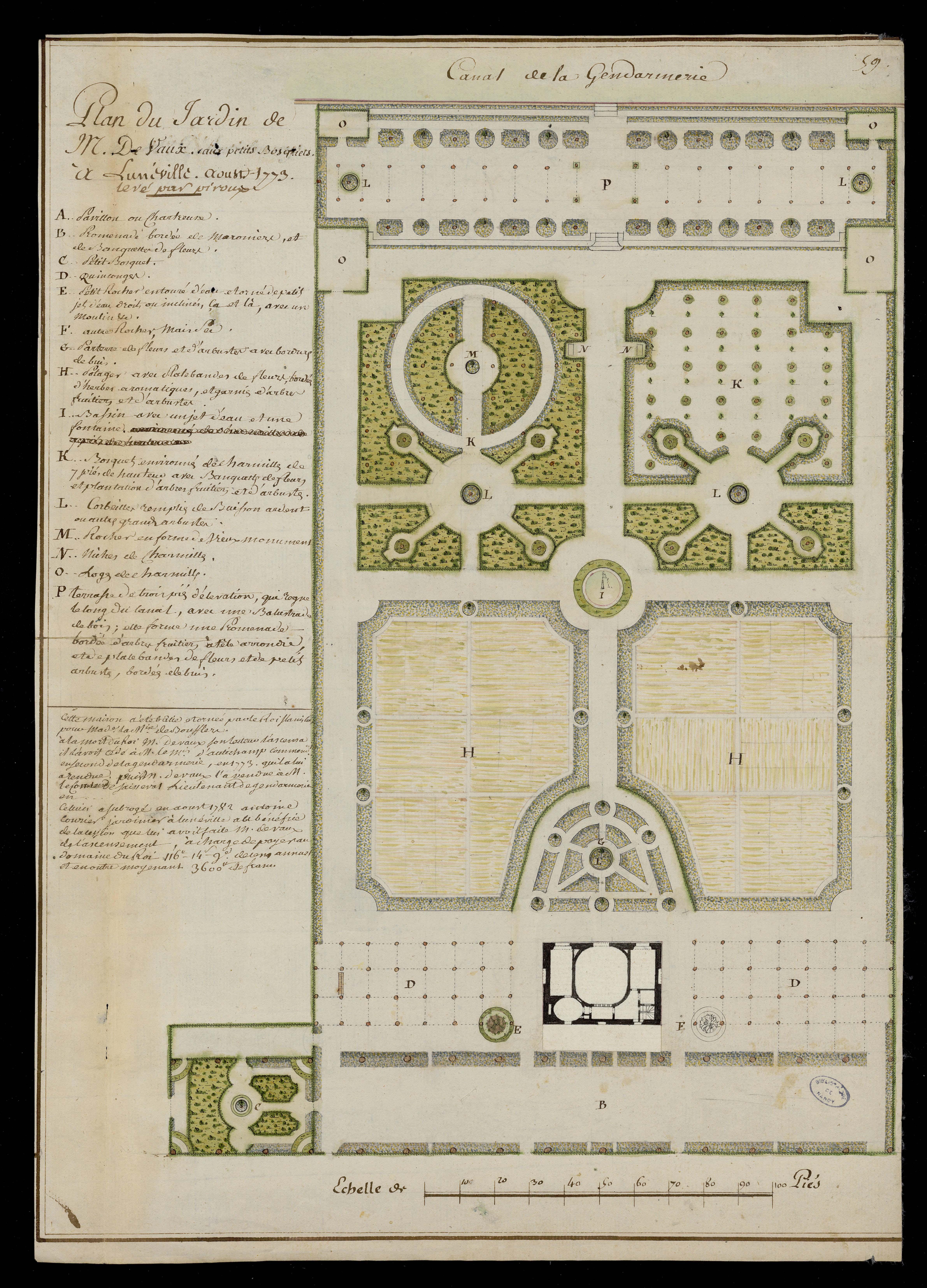 Contenu du Plan du jardin de M. De Vaux aux petits bosquets à Lunéville