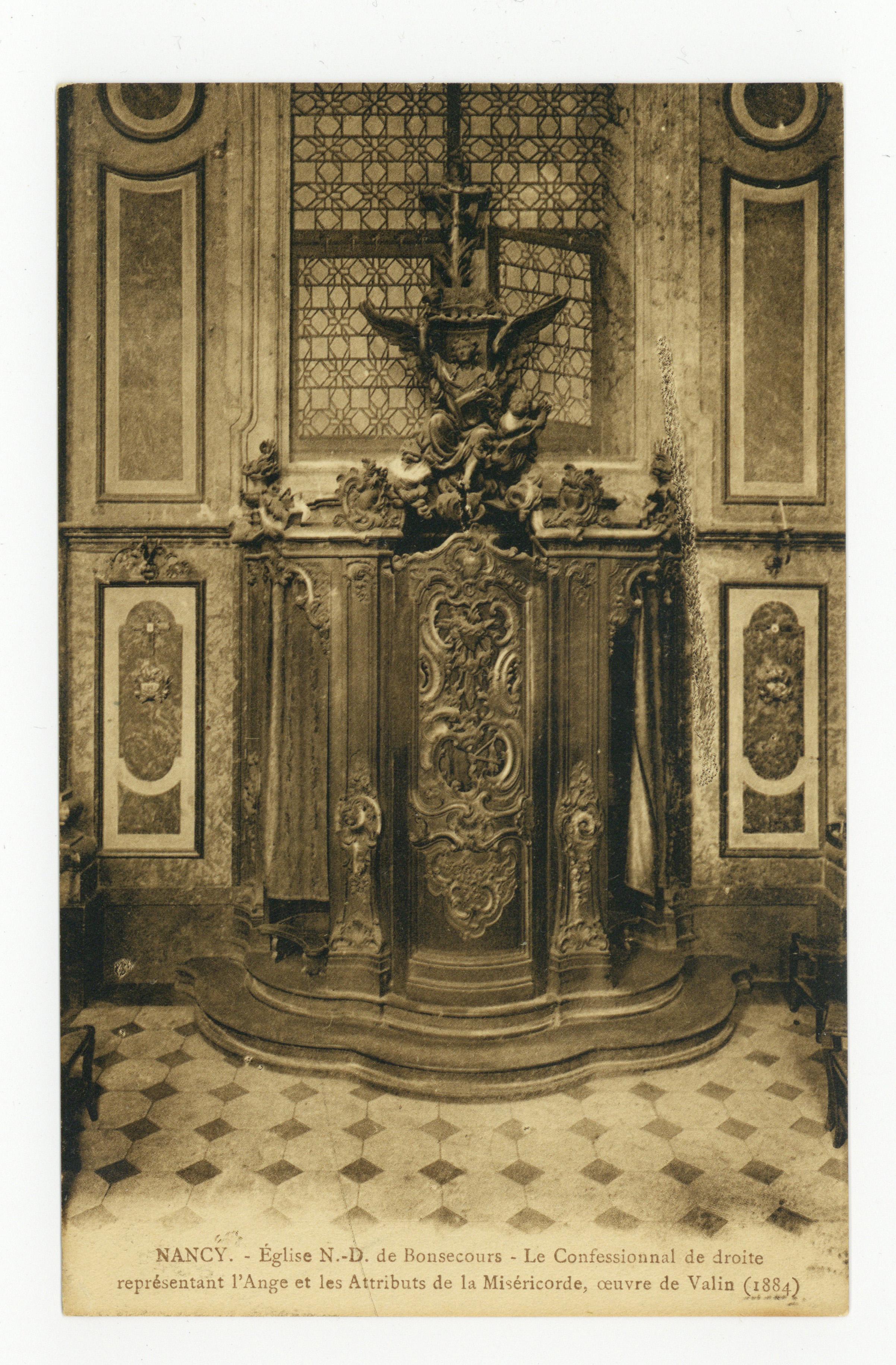 Contenu du Nancy : église N.-D. de Bonsecours, le confessional de droite représentant l'Ange et les attributs de la Miséricorde, œuvre de Vallin (1884)
