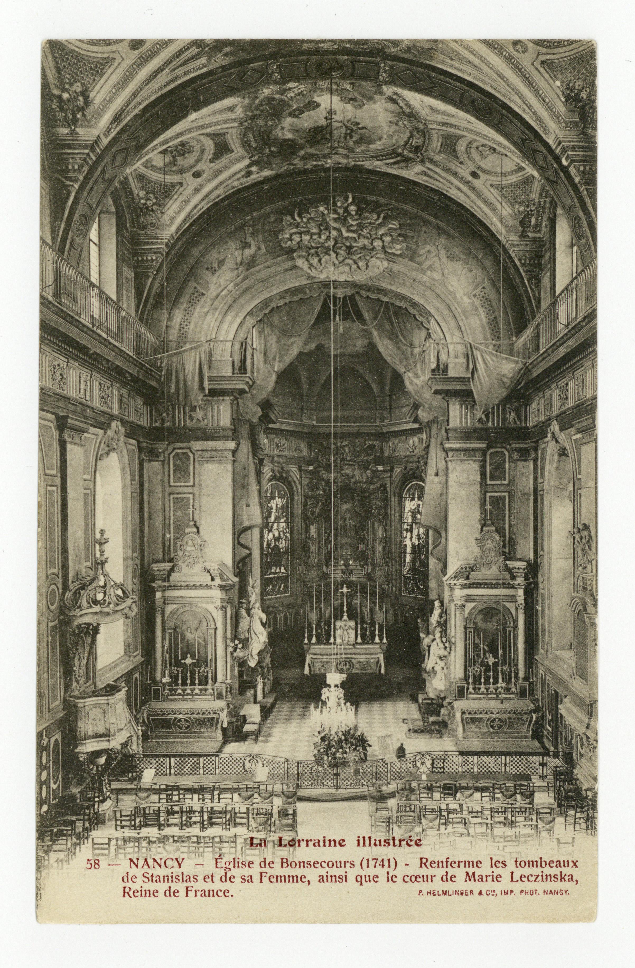 Contenu du Nancy : Église de Bonsecours (1741), renferme les tombeaux de Stanislas et de sa Femme, ainsi que le cœur de Marie Leczinska, Reine de France.  La Lorraine Illustrée