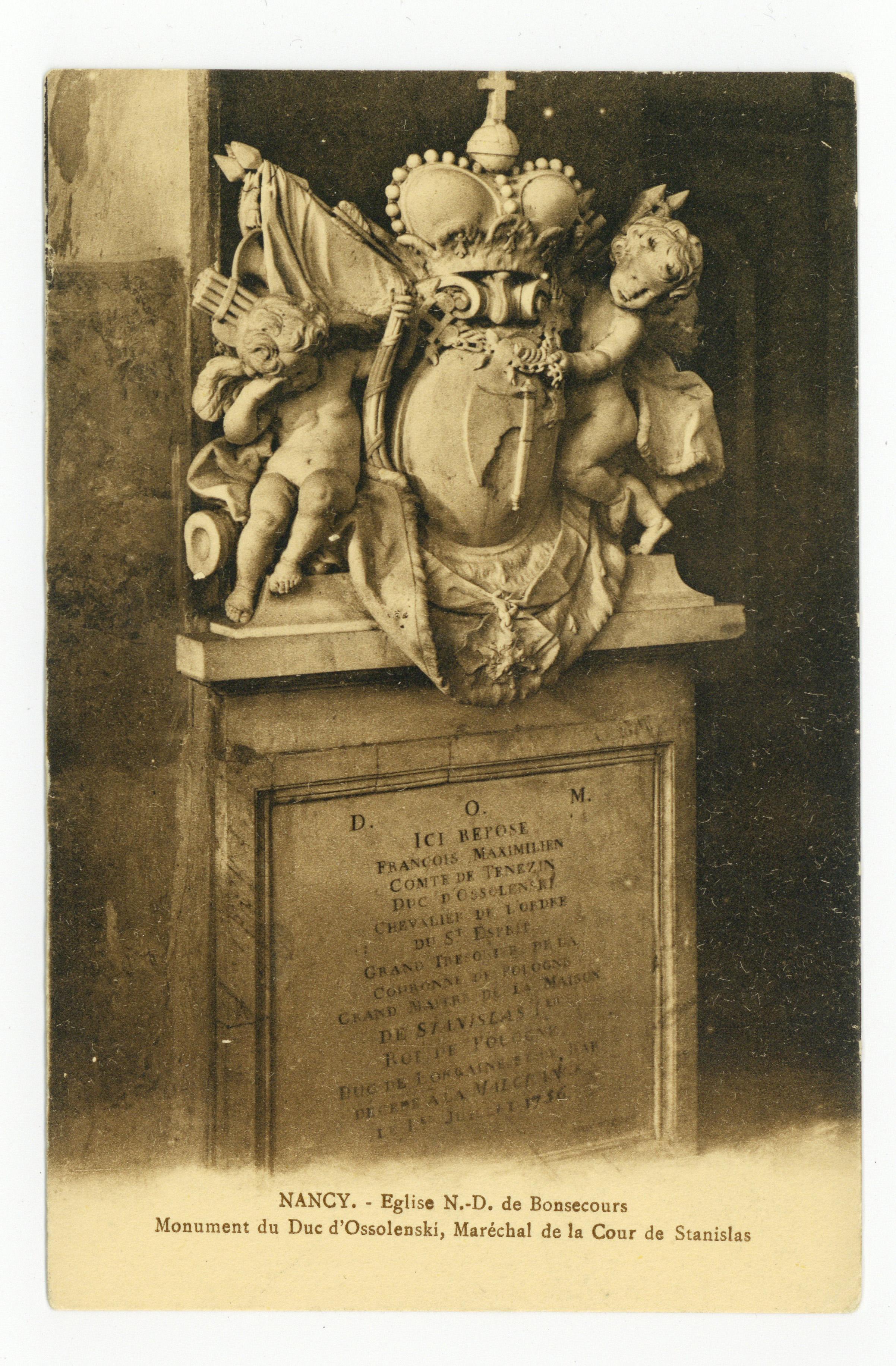 Contenu du Nancy : église N.-D. de Bonsecours, monument du Duc d'Ossolenski, maréchal de la cour de Stanislas