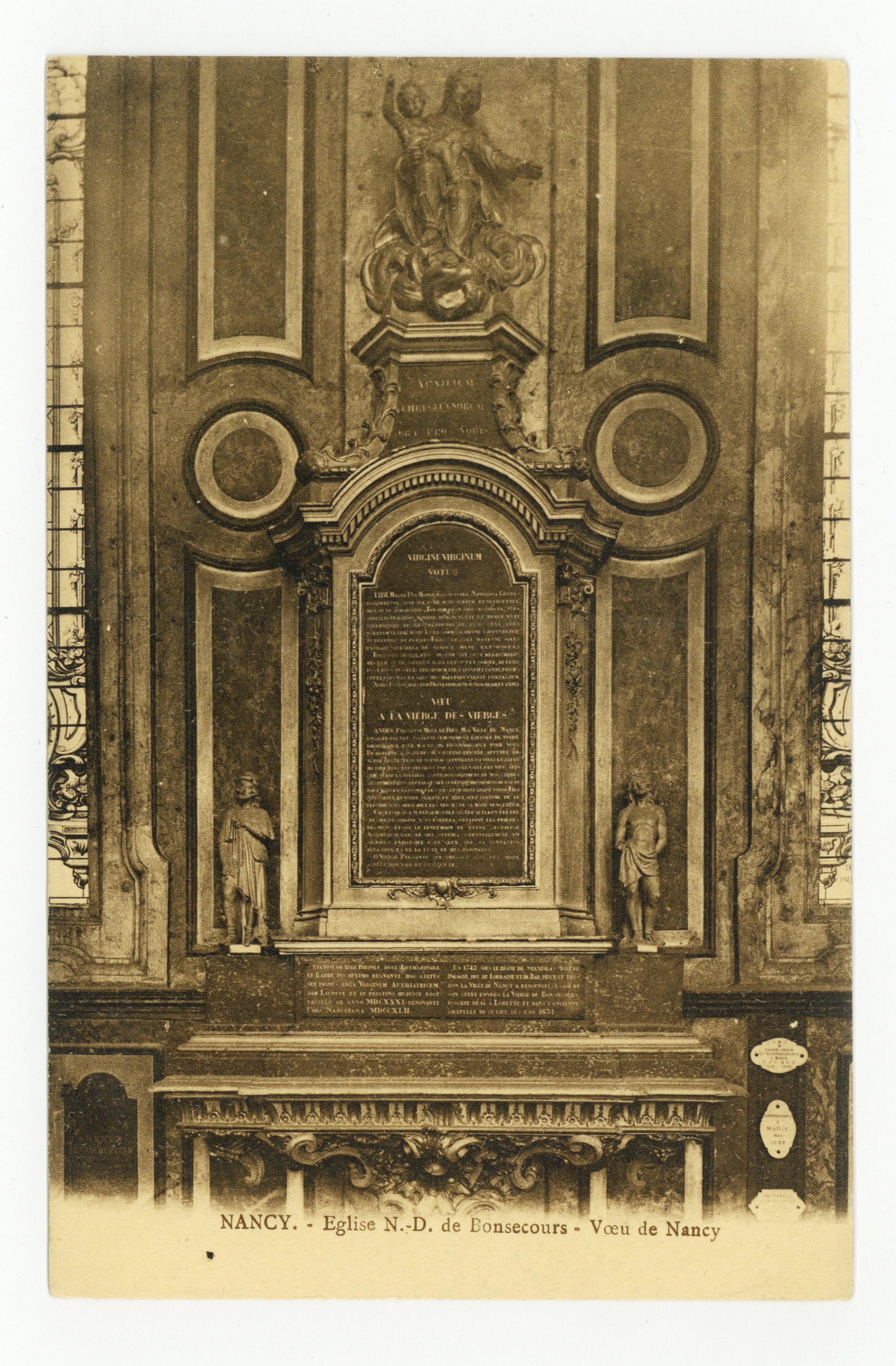 Contenu du Nancy : Église N.-D. de Bonsecours, Vœu de Nancy