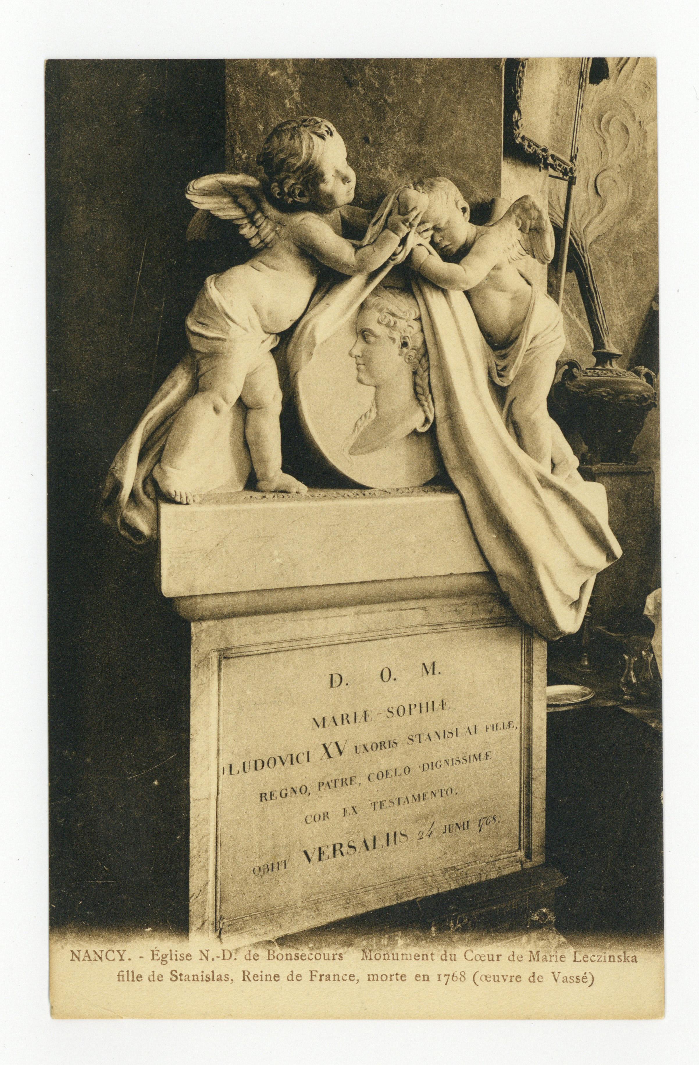Contenu du Nancy : église N.-D. de Bonsecours, Monument du Cœur de Marie Leczinska fille de Stanislas, Reine de France, morte en 1768 (Œuvre de Vassé)