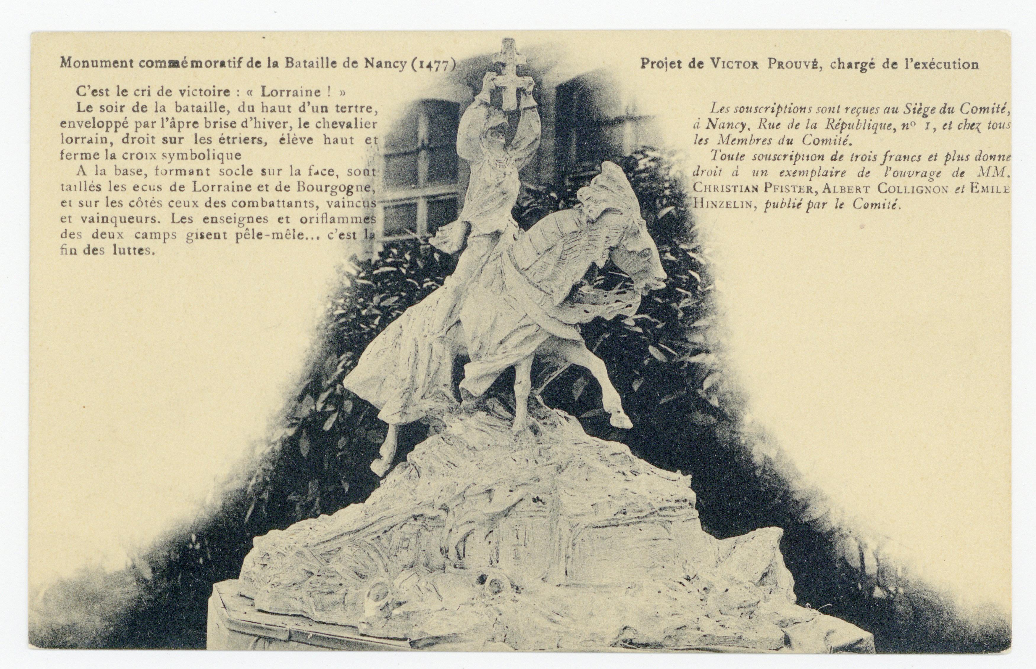 Contenu du Monument commémoratif de la Bataille de Nancy (1477) : projet de Victor Prouvé, chargé de l'exécution