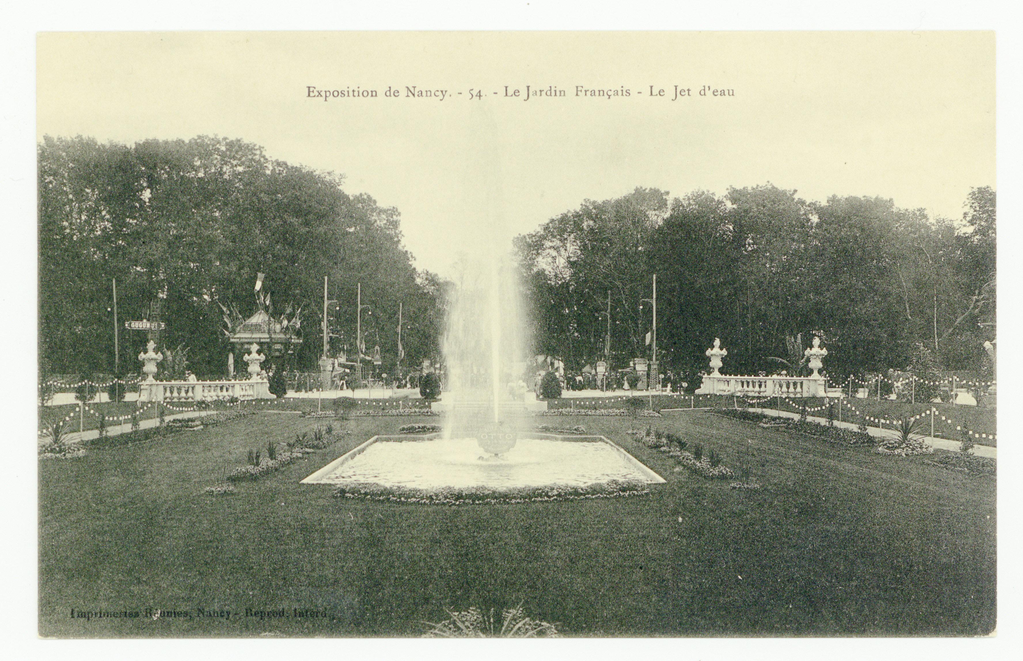 Contenu du Exposition de Nancy, 54 : le Jardin Français. Le Jet d'eau