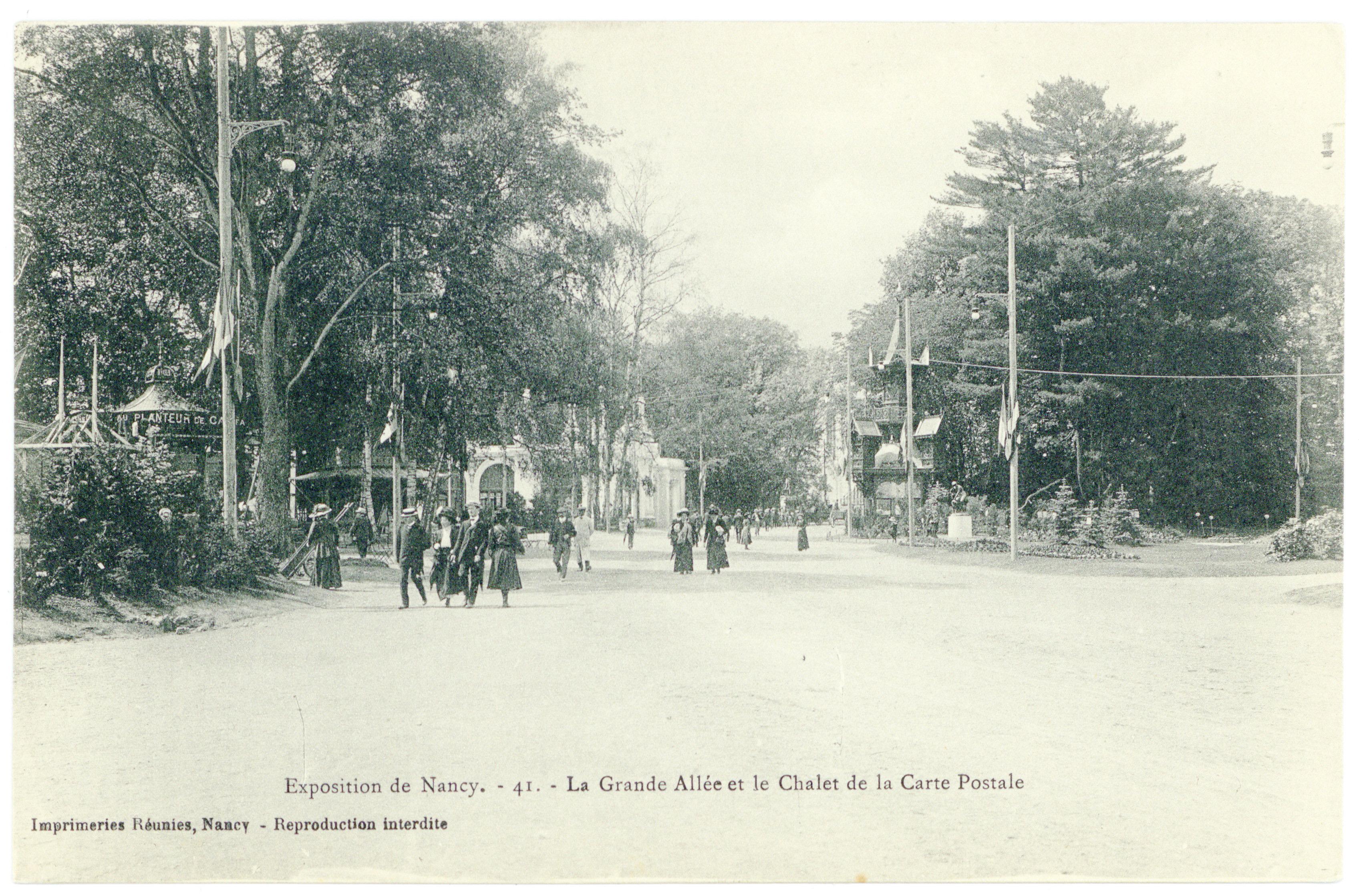 Contenu du La grande allée et le chalet de la carte postale : exposition de Nancy