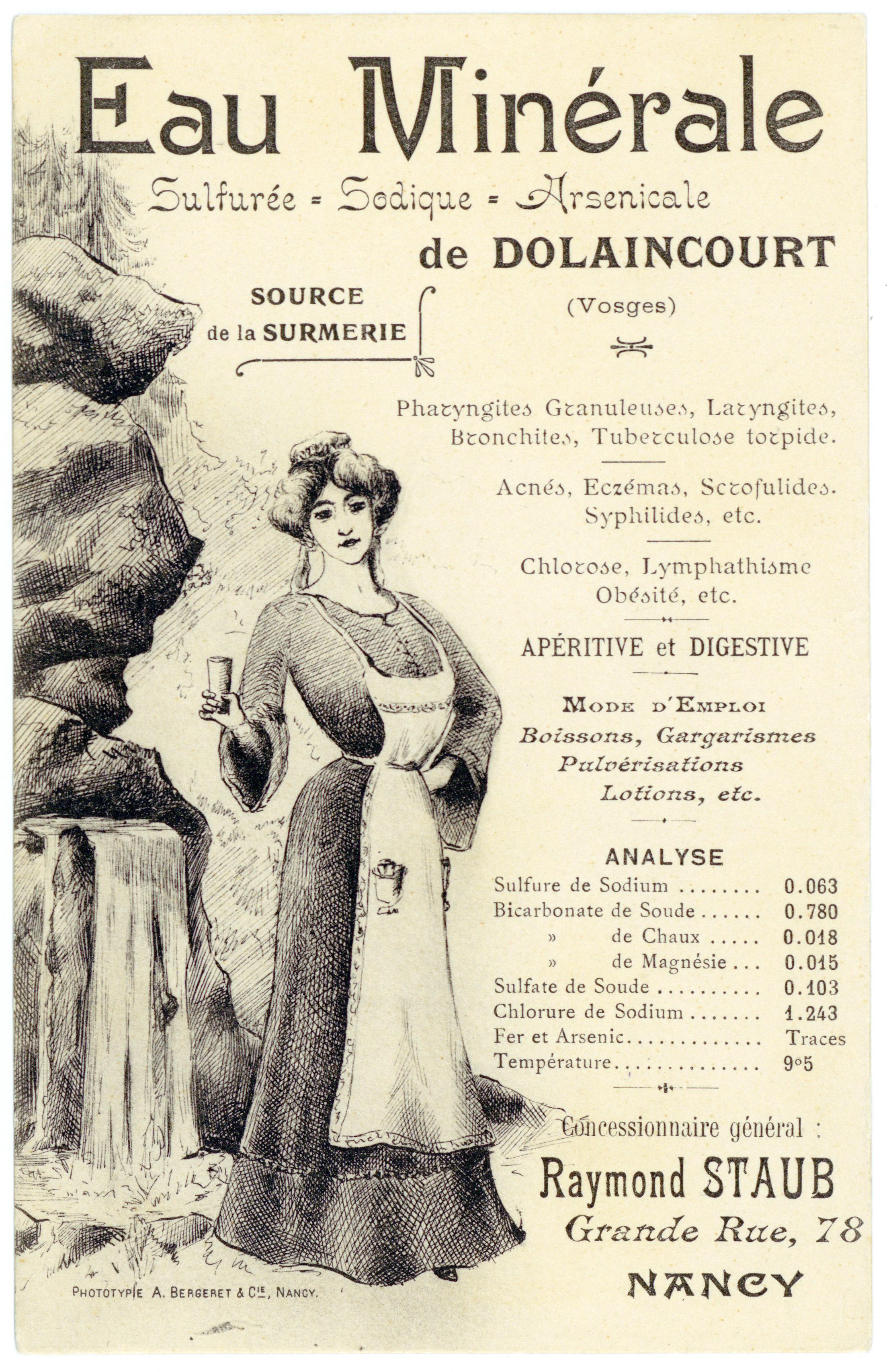 Contenu du Eau minérale sulfurée, sodique, arsenicale de Dolaincourt (Vosges)