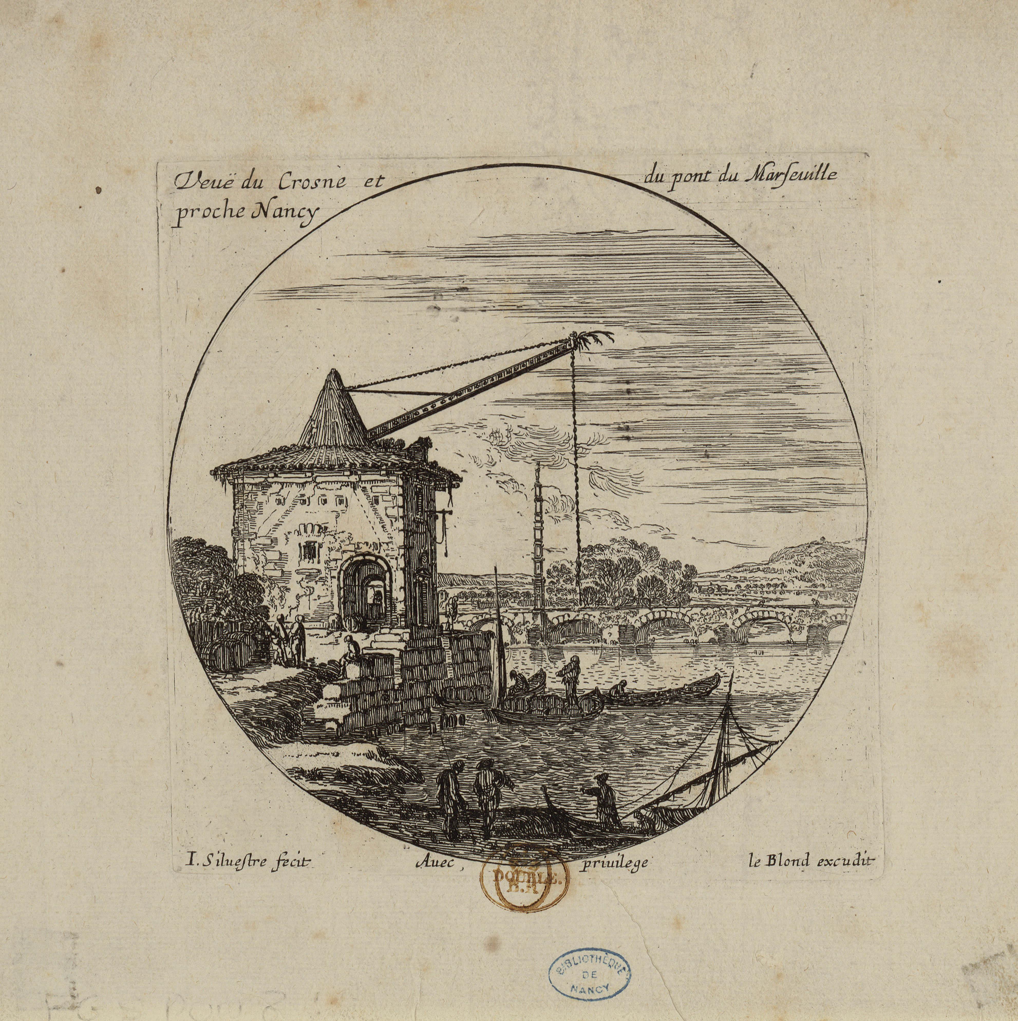 Contenu du Veuë du Crosne et du pont de Marseuille proche de Nancy