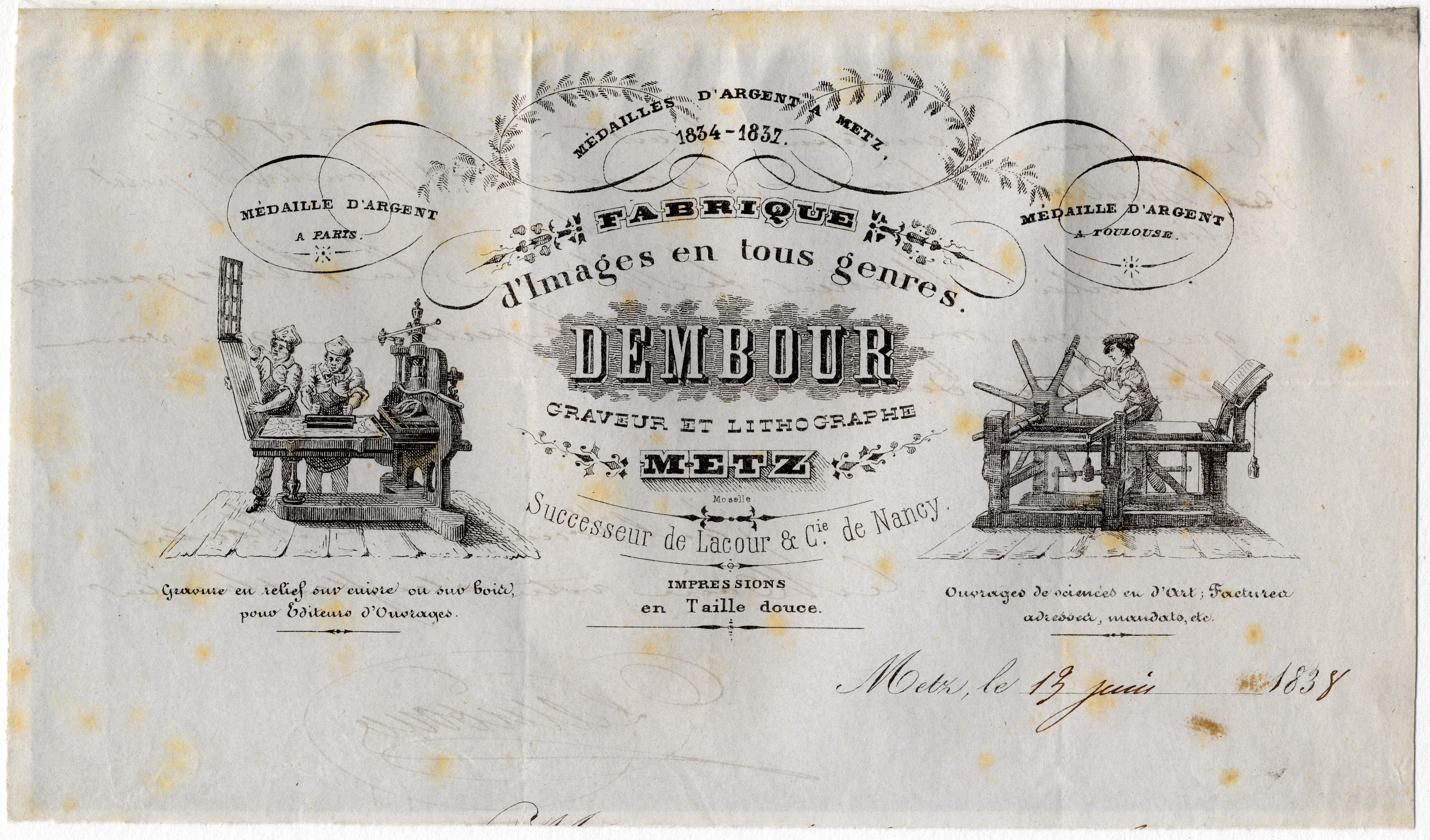 Contenu du En-tête de lettre: Fabrique d'images en tous genres Dembourg - graveur et lithographe à Metz