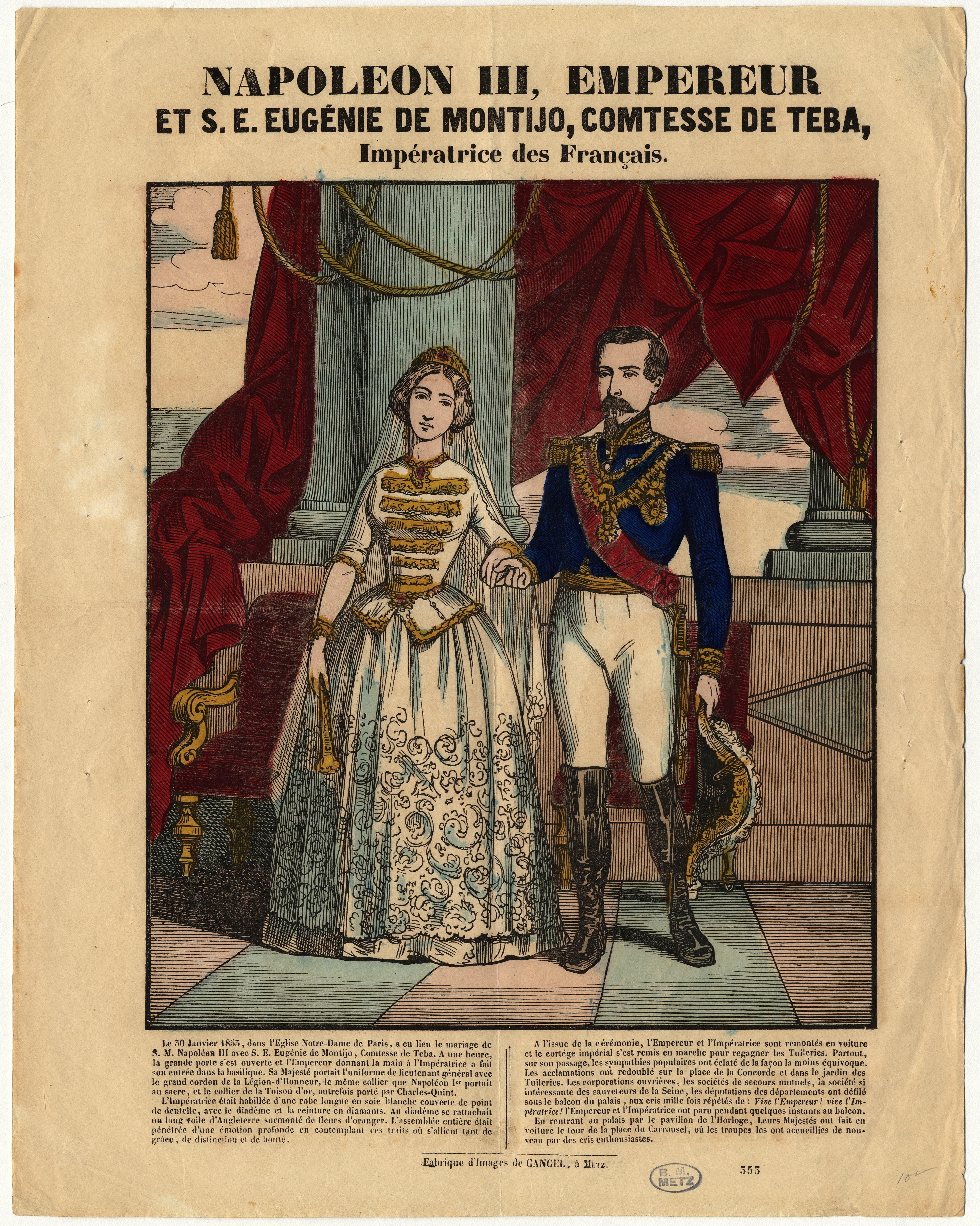 Contenu du Napoléon III empereur et son épouse Eugénie de Montijo comtesse de Téba