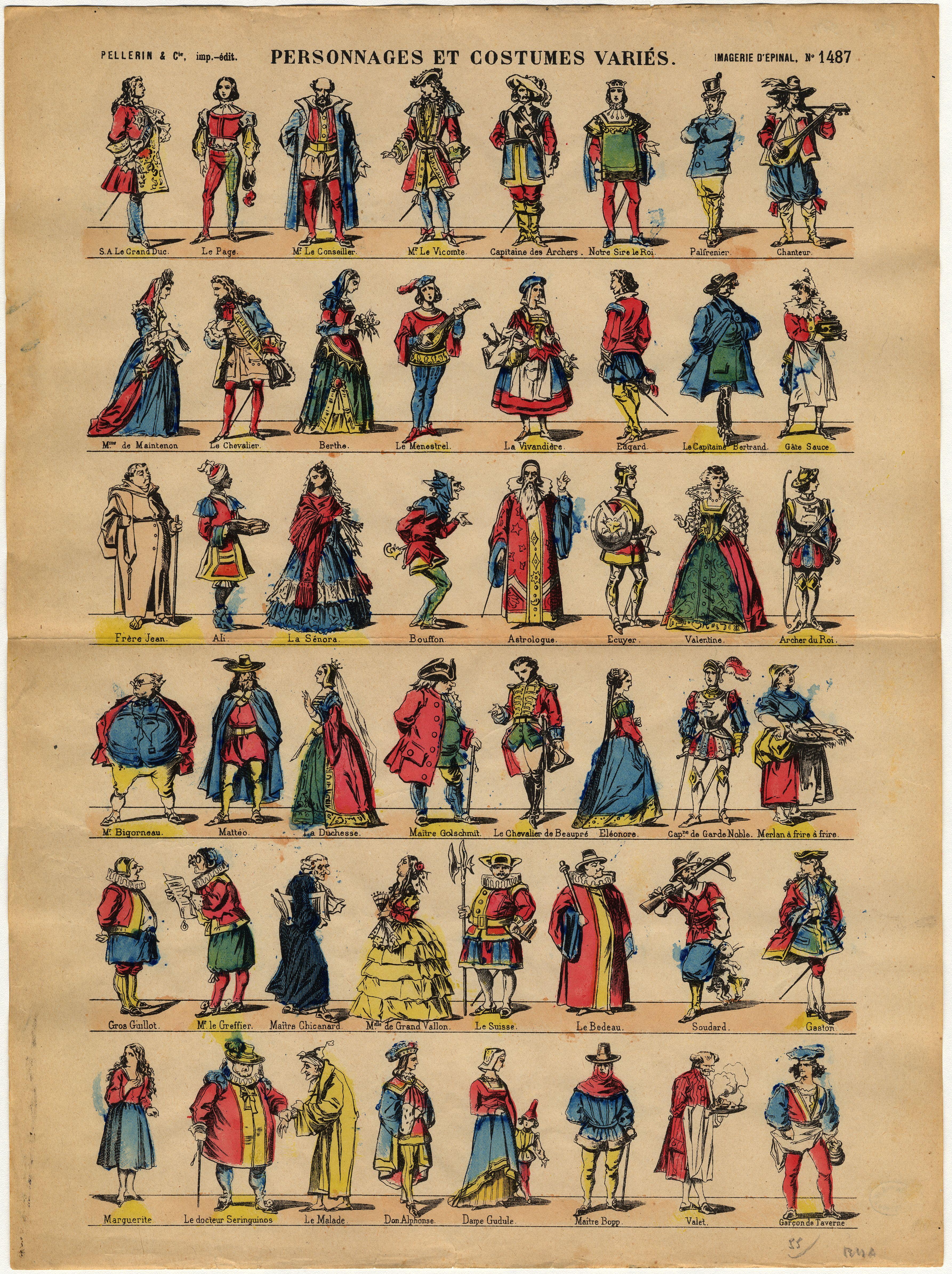 Contenu du Personnages et costumes variés