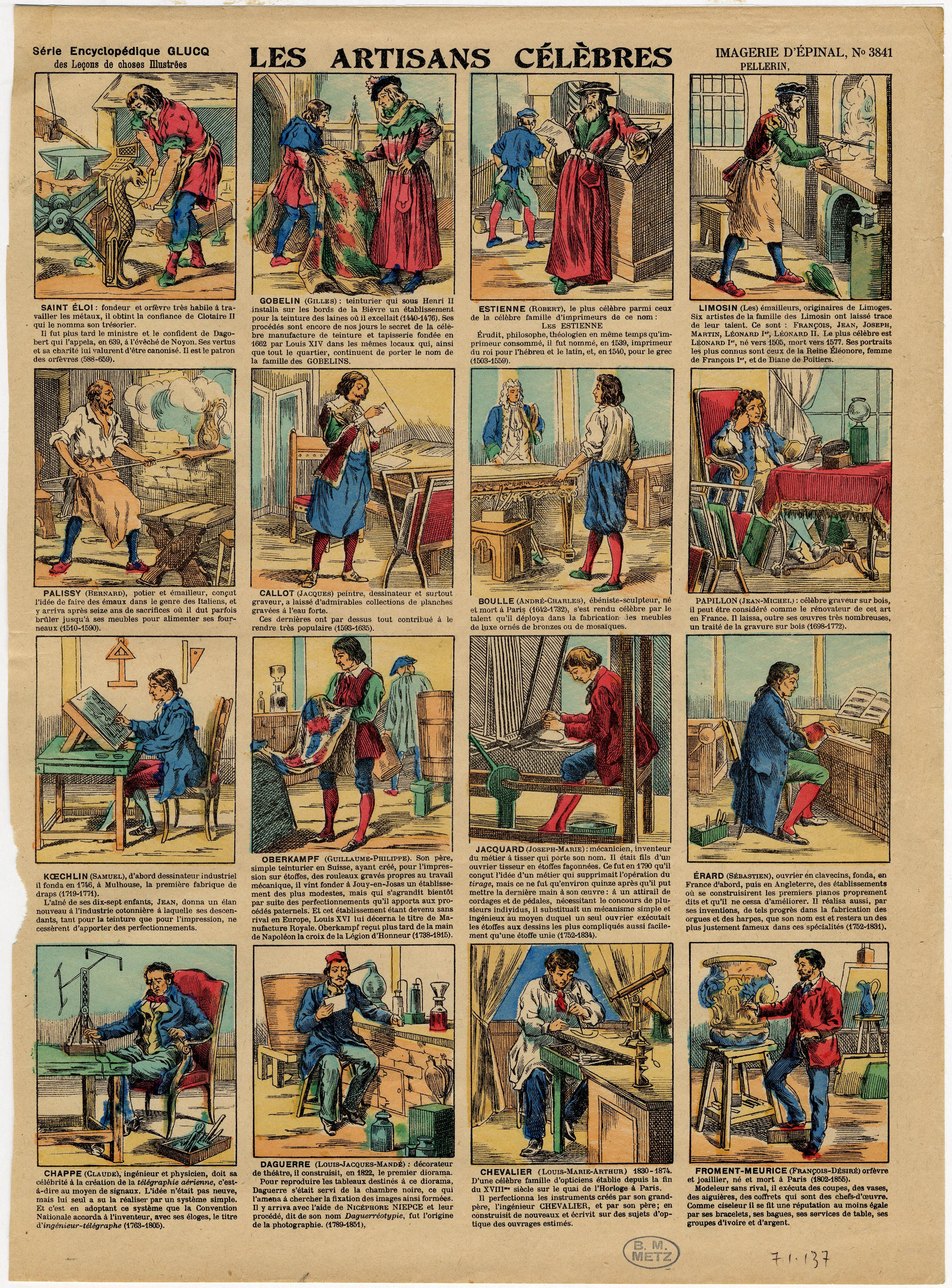 Contenu du Les artisans célèbres