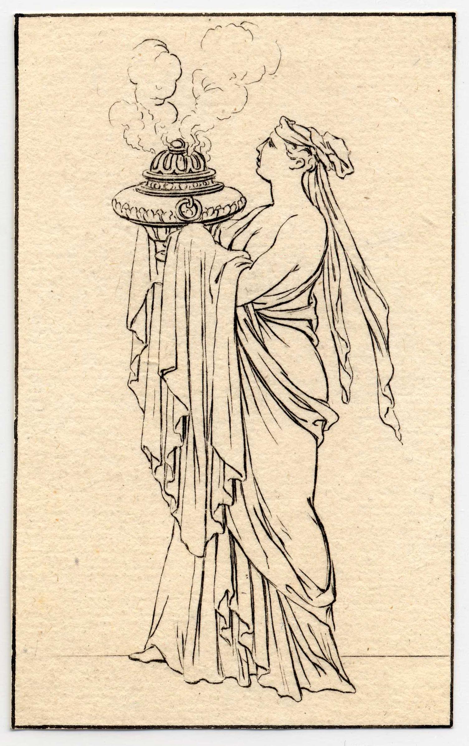 Contenu du Divers habillements des anciens Grecs et Romains, planche 15: une femme portant une cassolette