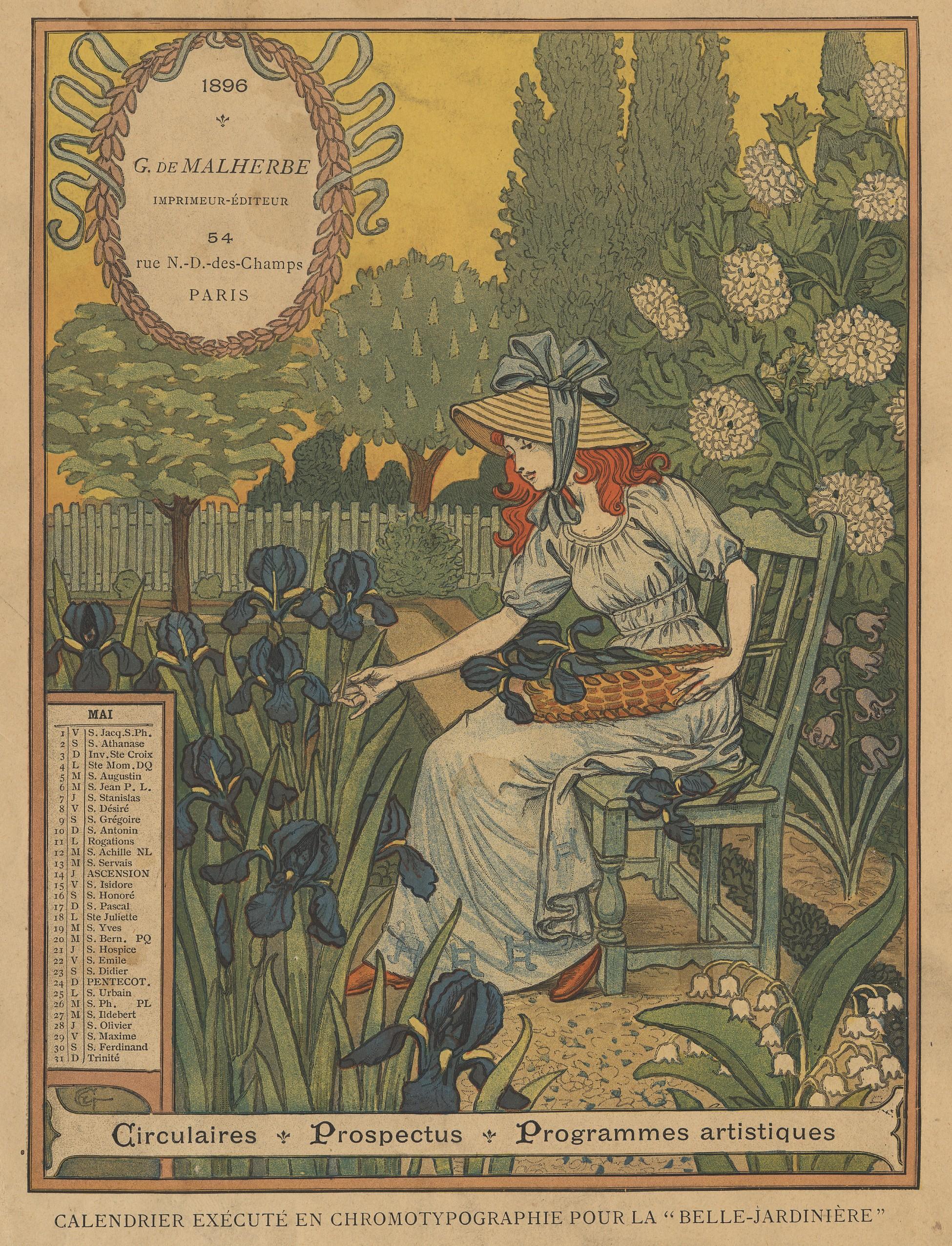 Contenu du Calendrier de 1896 de La Belle Jardinière. Les Mois: Mai