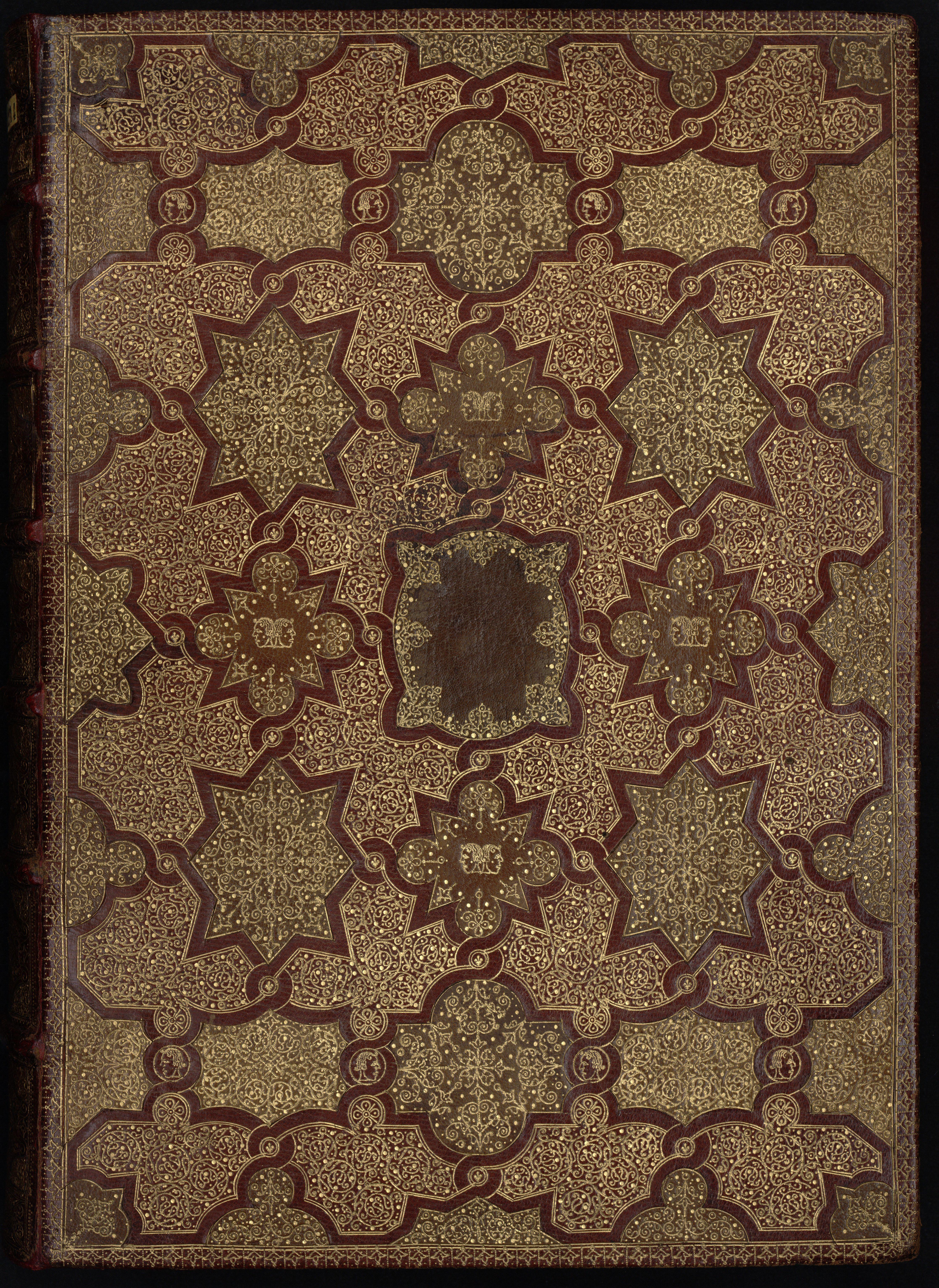 Contenu du Reliure en maroquin rouge et olive mosaïqué à décor à la fanfare avec fers pointillés, à la petite tête