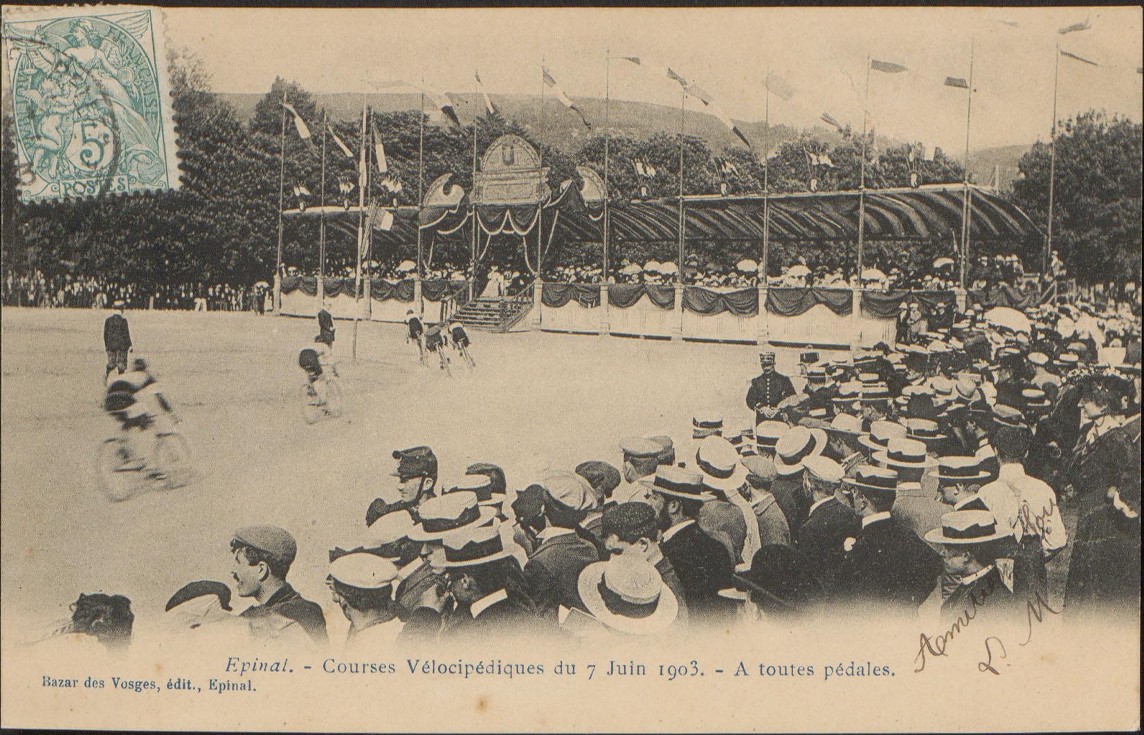 Contenu du Épinal, Courses Vélocipédique du 7 Juin 1903, À toutes pédales