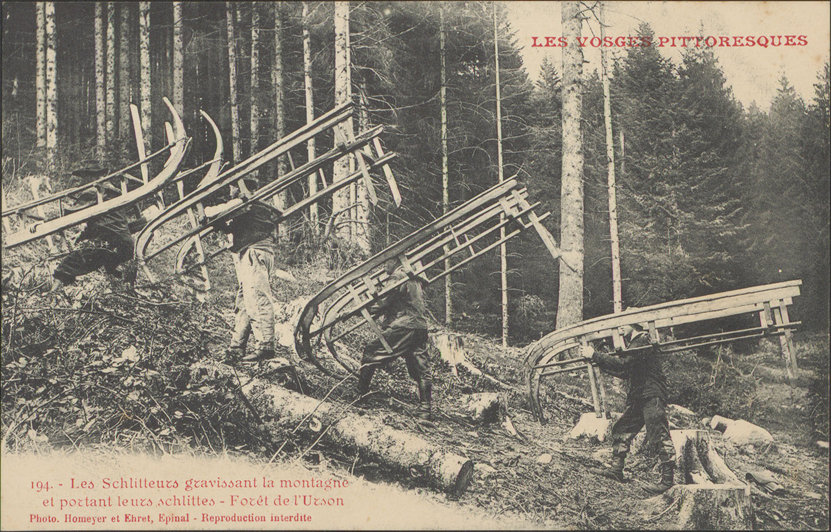 Contenu du Les Schlitteurs gravissant la montagne et portant leurs schlittes, Forêt de l'Urson