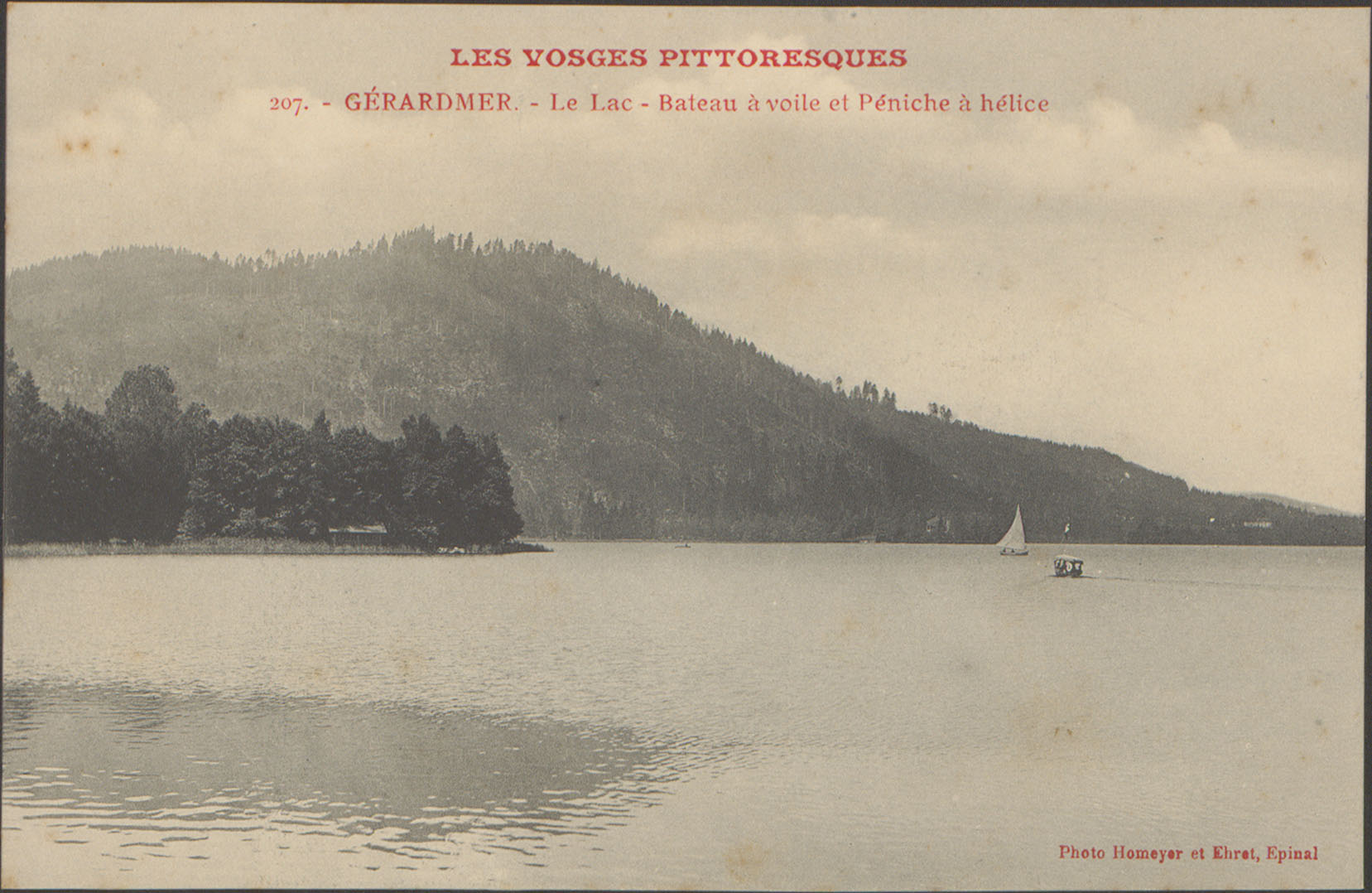 Contenu du Gérardmer, Le Lac, Bateau à voile et péniche à hélice
