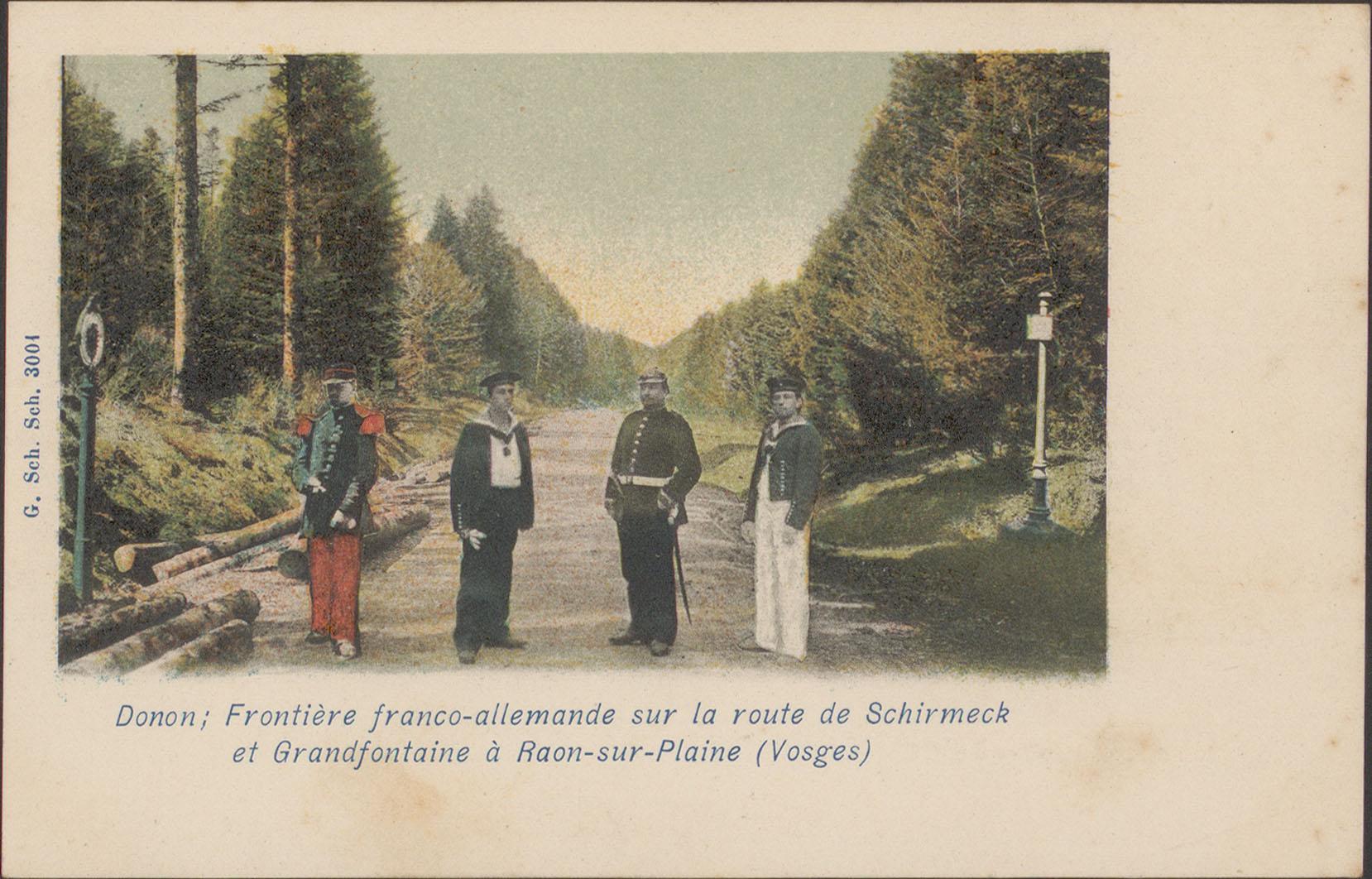 Contenu du Donon, Frontière franco-allemande sur la route de Schmirmeck et Grandfontaine à Raon-sur-Plaine (Vosges)