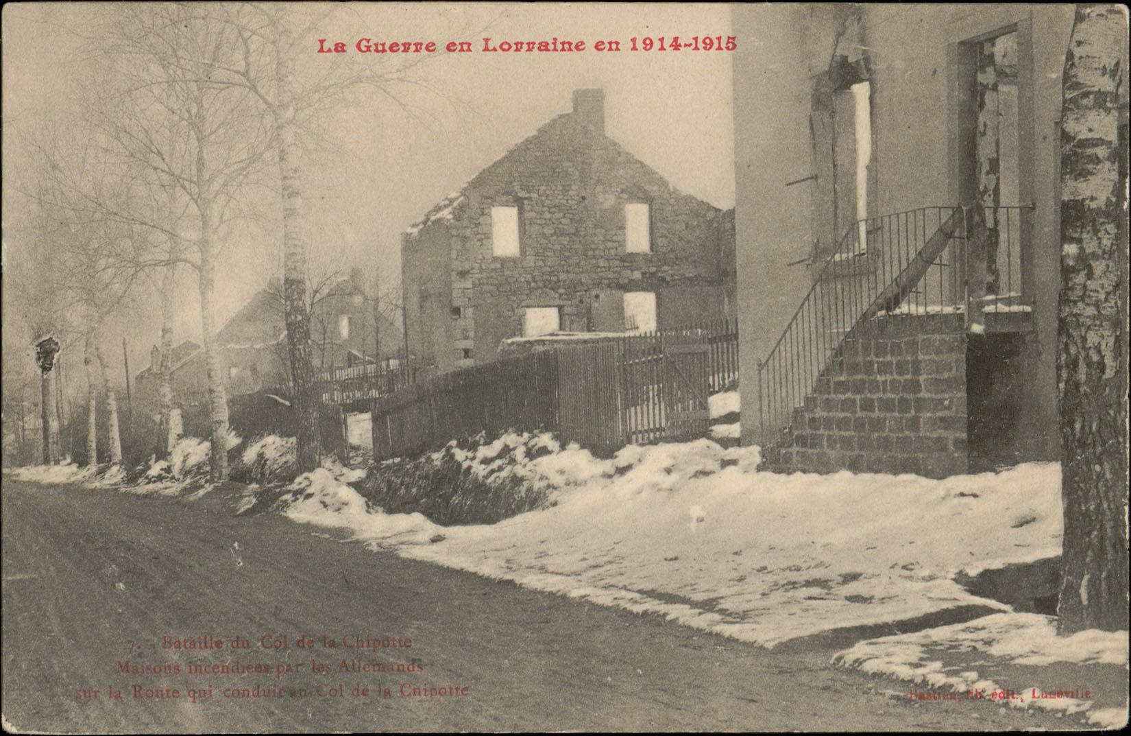 Contenu du Bataille du Col de la Chipotte, Maison incendiées par les Allemands sur la Route qui conduit au Col de la Chipotte