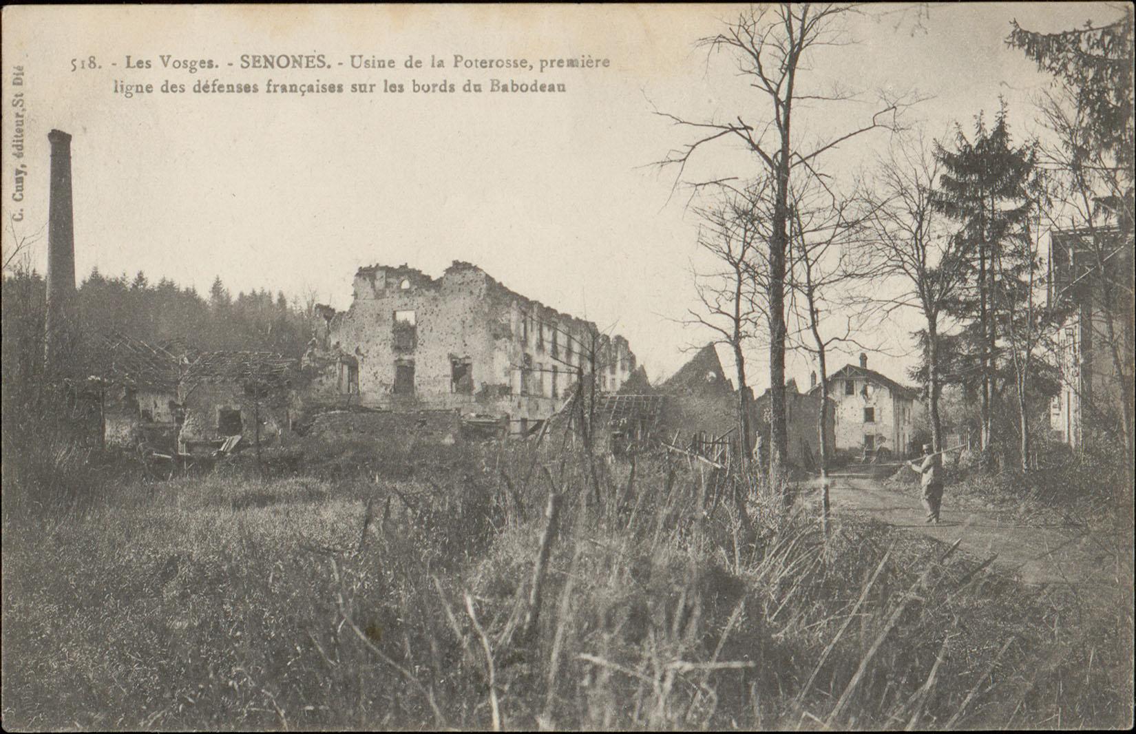 Contenu du Senones, Usine de la Poterosse, première ligne des défenses françaises sur les bords du Babodeau