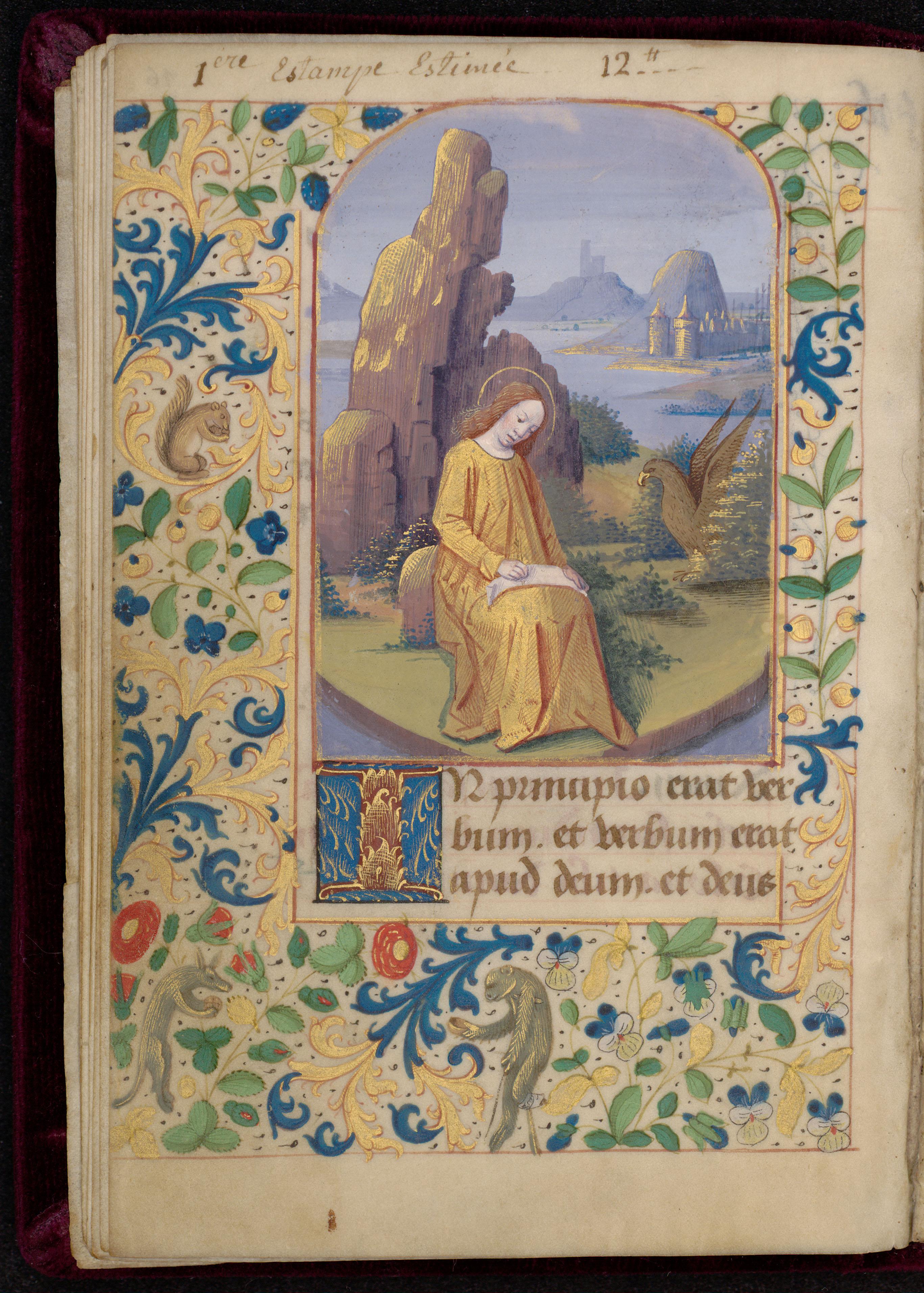 Contenu du Saint Jean à Patmos et bordure décorée