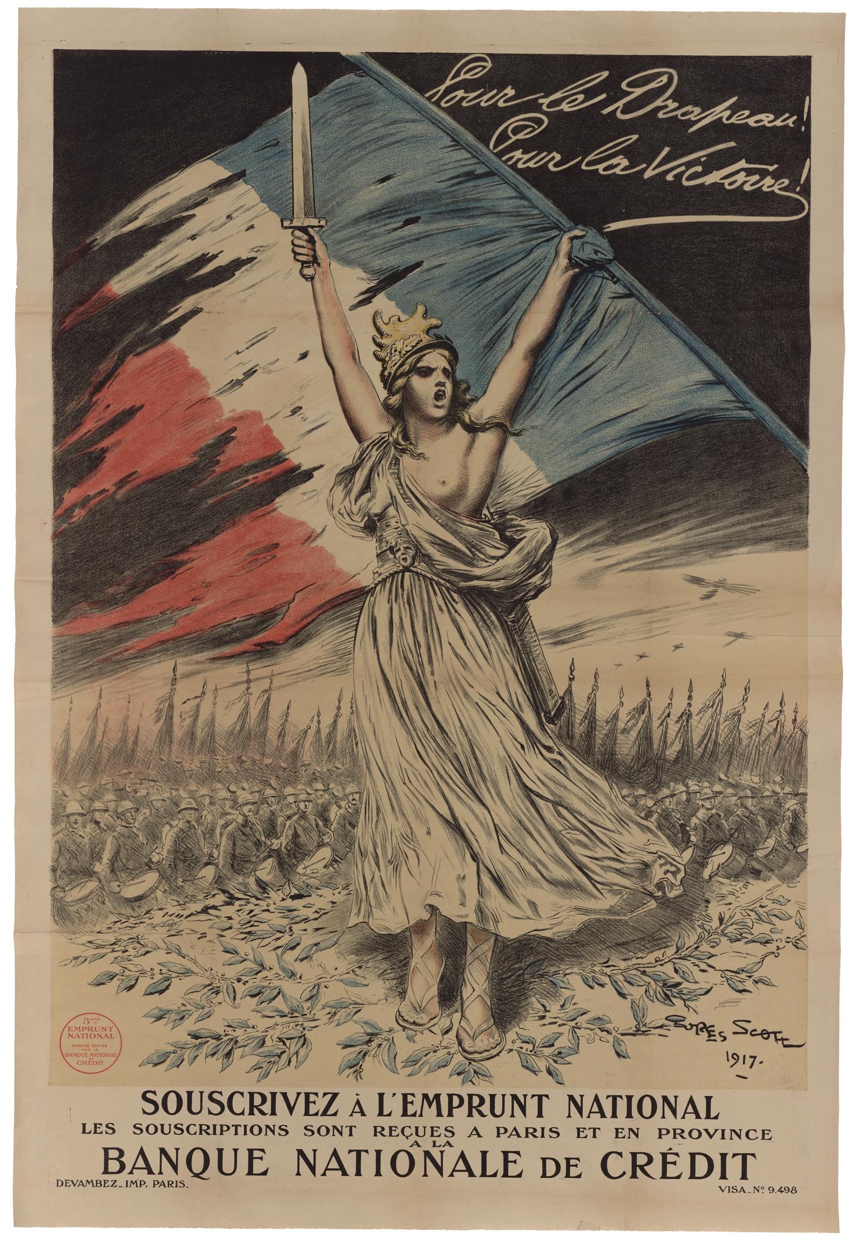 Contenu du Pour le drapeau! Pour la victoire! Souscrivez à l'emprunt national, les souscriptions sont reçues à Paris et en Province à la Banque nationale de Crédit