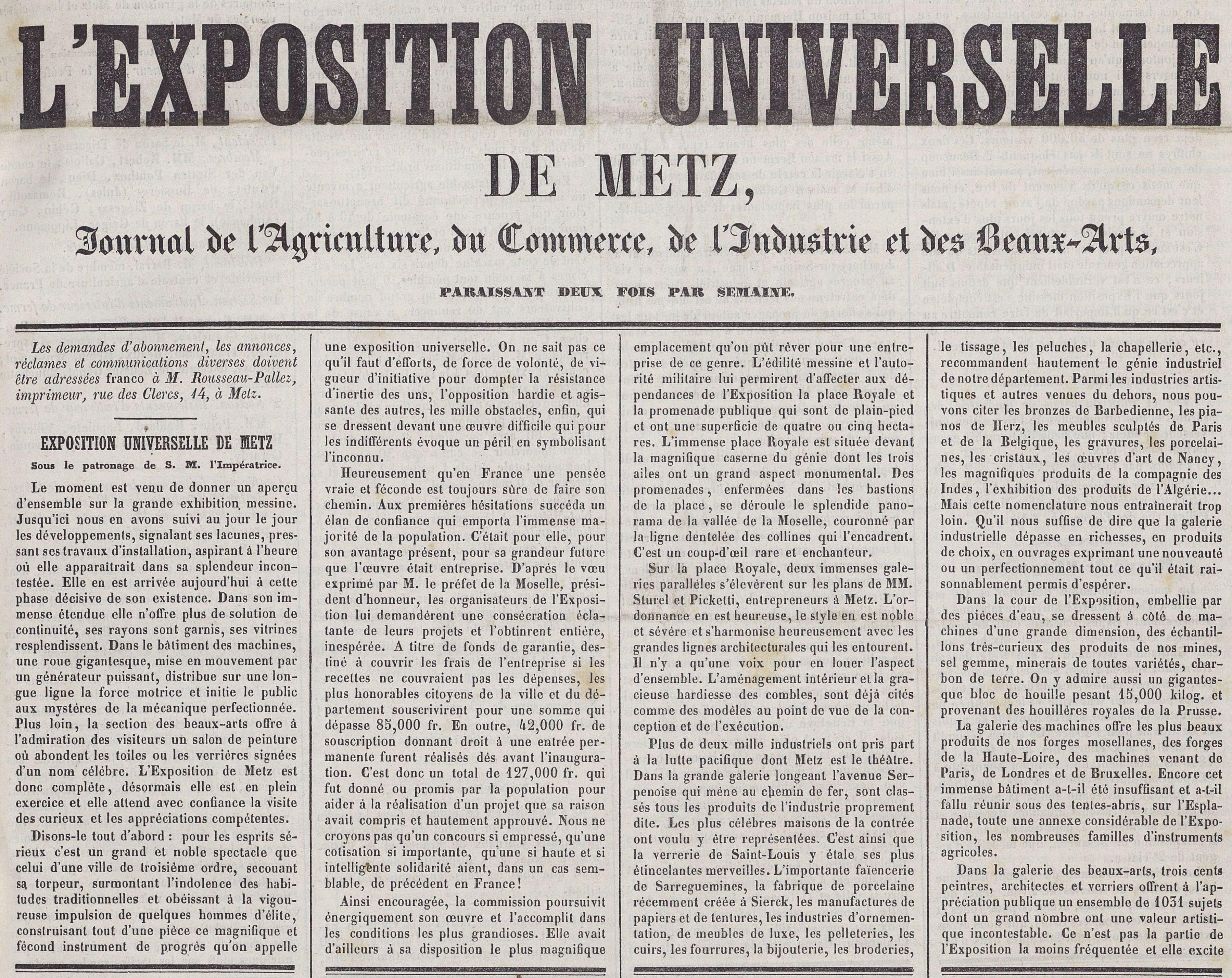 Contenu du Numéro 24 (11 juillet 1861) de l'Exposition universelle de Metz (extrait)
