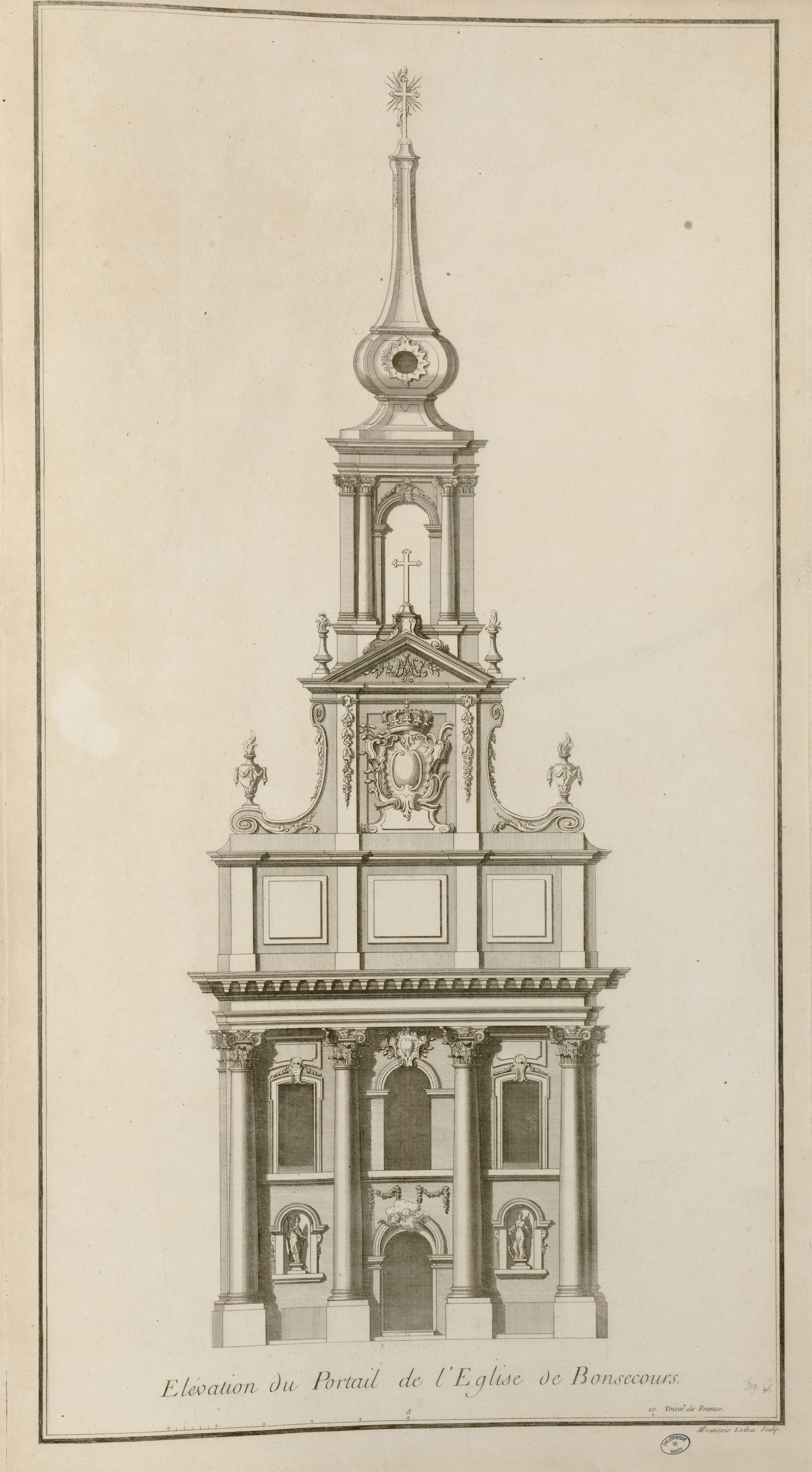 Contenu du Élévation du portail de l'église de Bonsecours