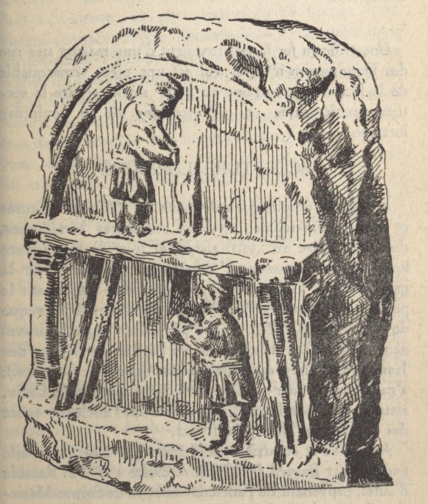 Contenu du Bas relief gallo romain trouvé à Deneuvre représentant des scieurs de long