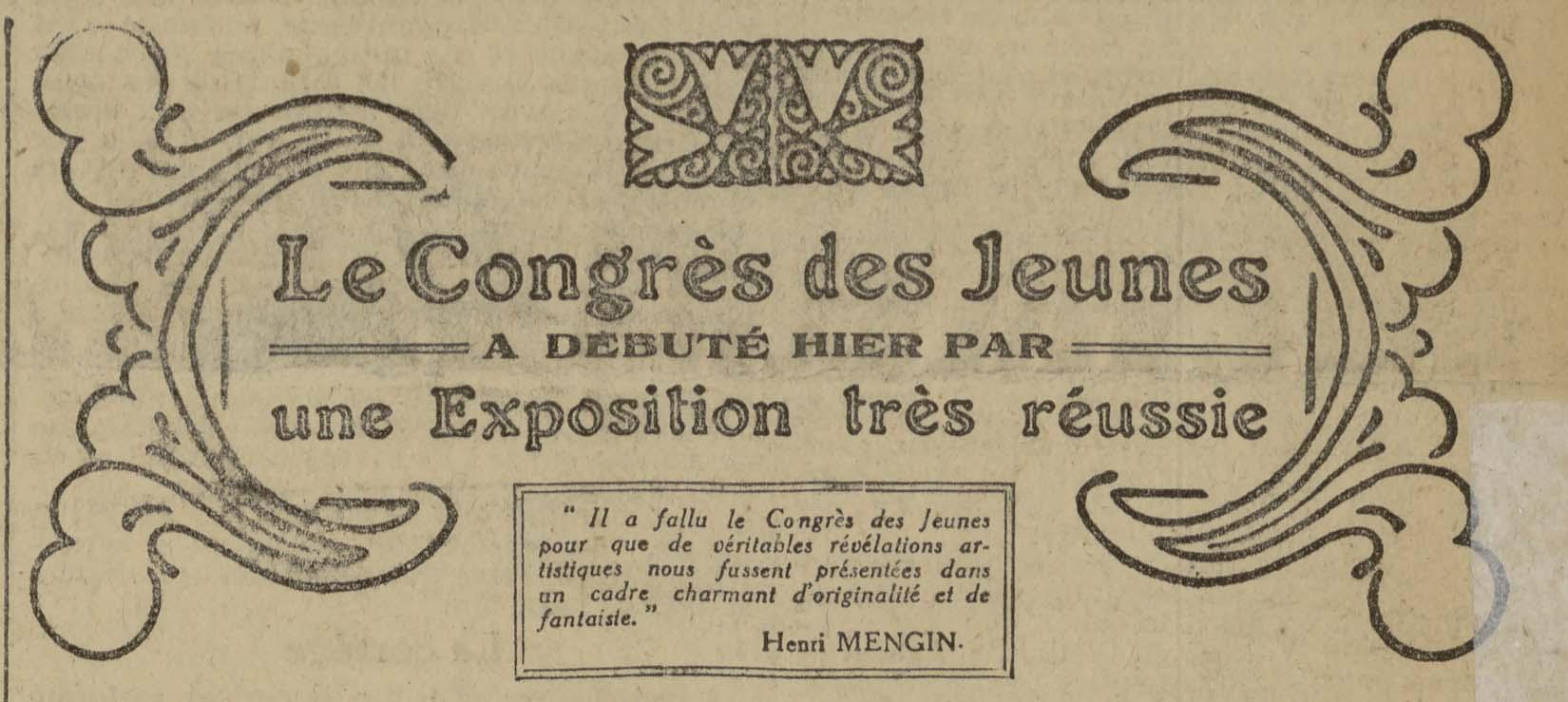 Contenu du Le congrès des jeunes de 1920 à Nancy