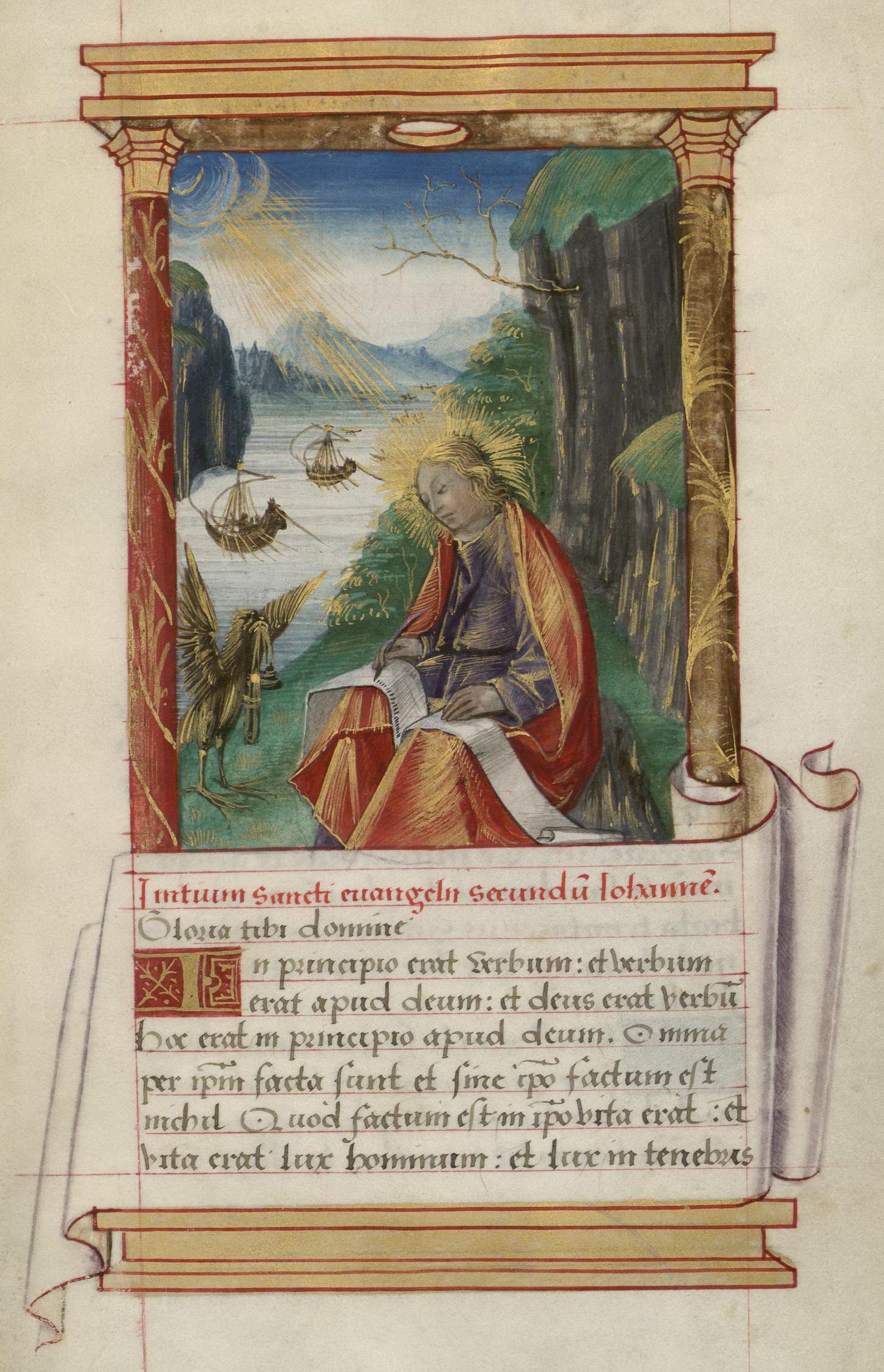 Contenu du Saint Jean sur l'île de Patmos. Enluminure extraite du Livre d'Heures de Madeleine d'Azay (BmN, Ms. 355)