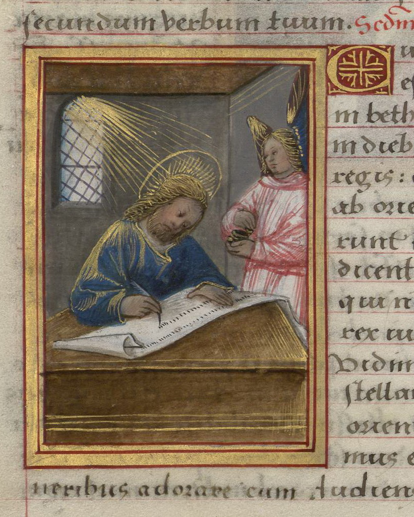 Contenu du Saint Matthieu. Enluminure extraite du Livre d'Heures de Madeleine d'Azay (BmN, Ms. 355)