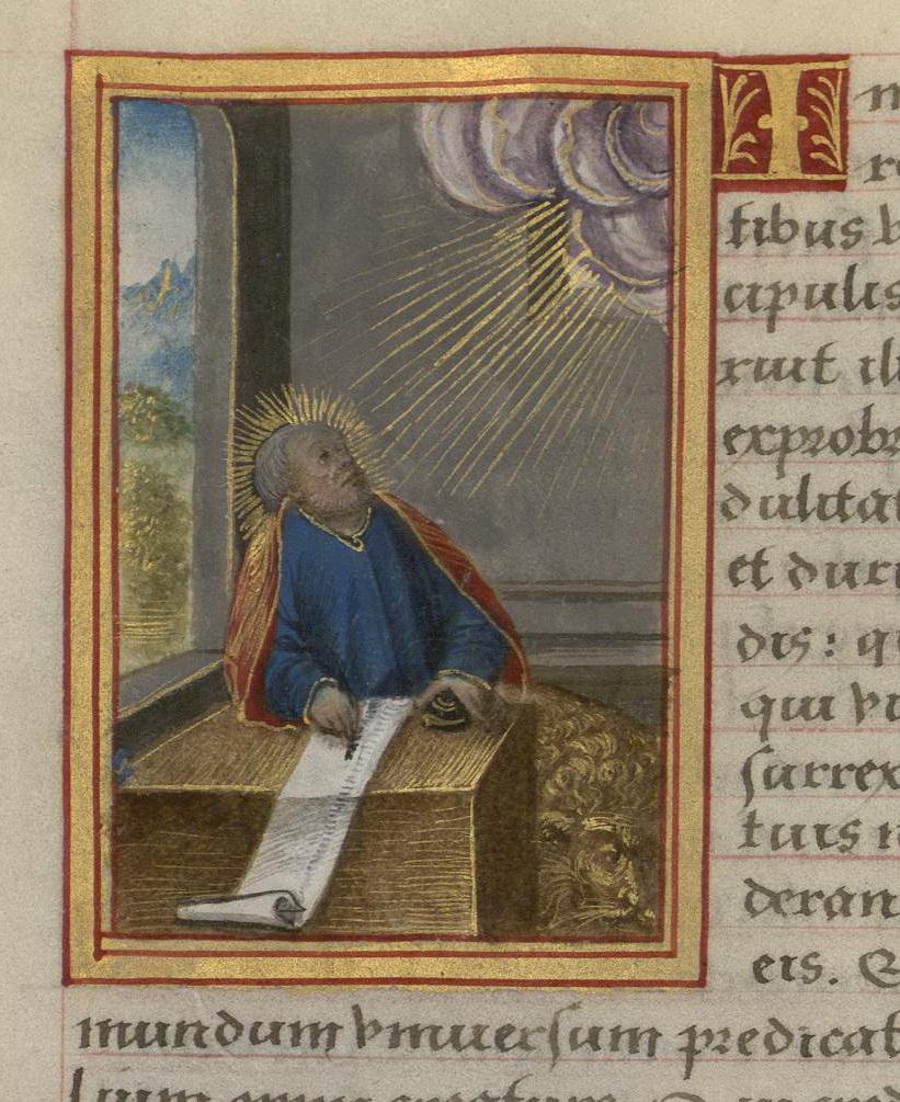 Contenu du Saint Marc. Enluminure extraite du Livre d'Heures de Madeleine d'Azay (BmN, Ms. 355)