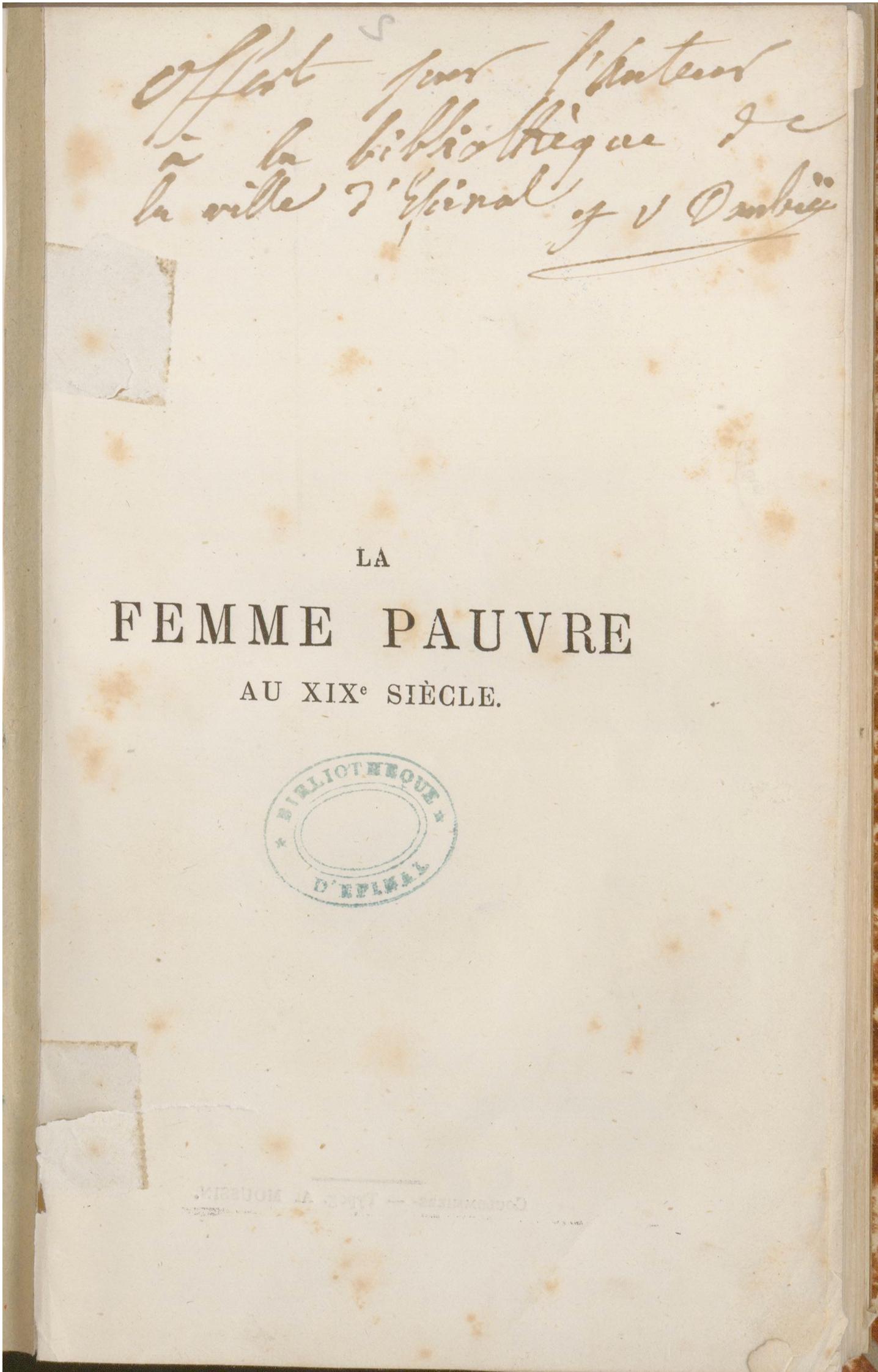 Contenu du Page de titre de La Femme pauvre au XIXe siècle de Julie-Victoire Daubié