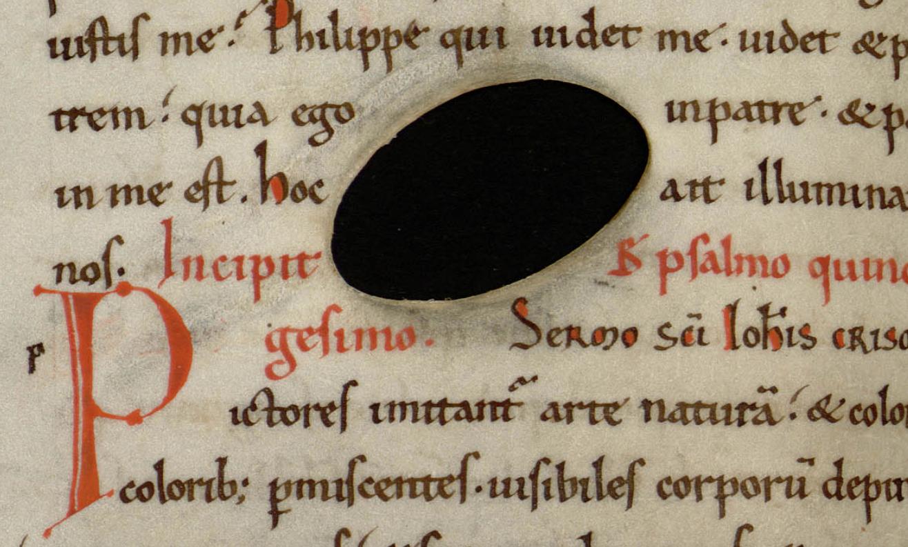 Contenu du Trou dans le parchemin, avant écriture ( bmi Epinal, MS 20 P/R, f. 253v).