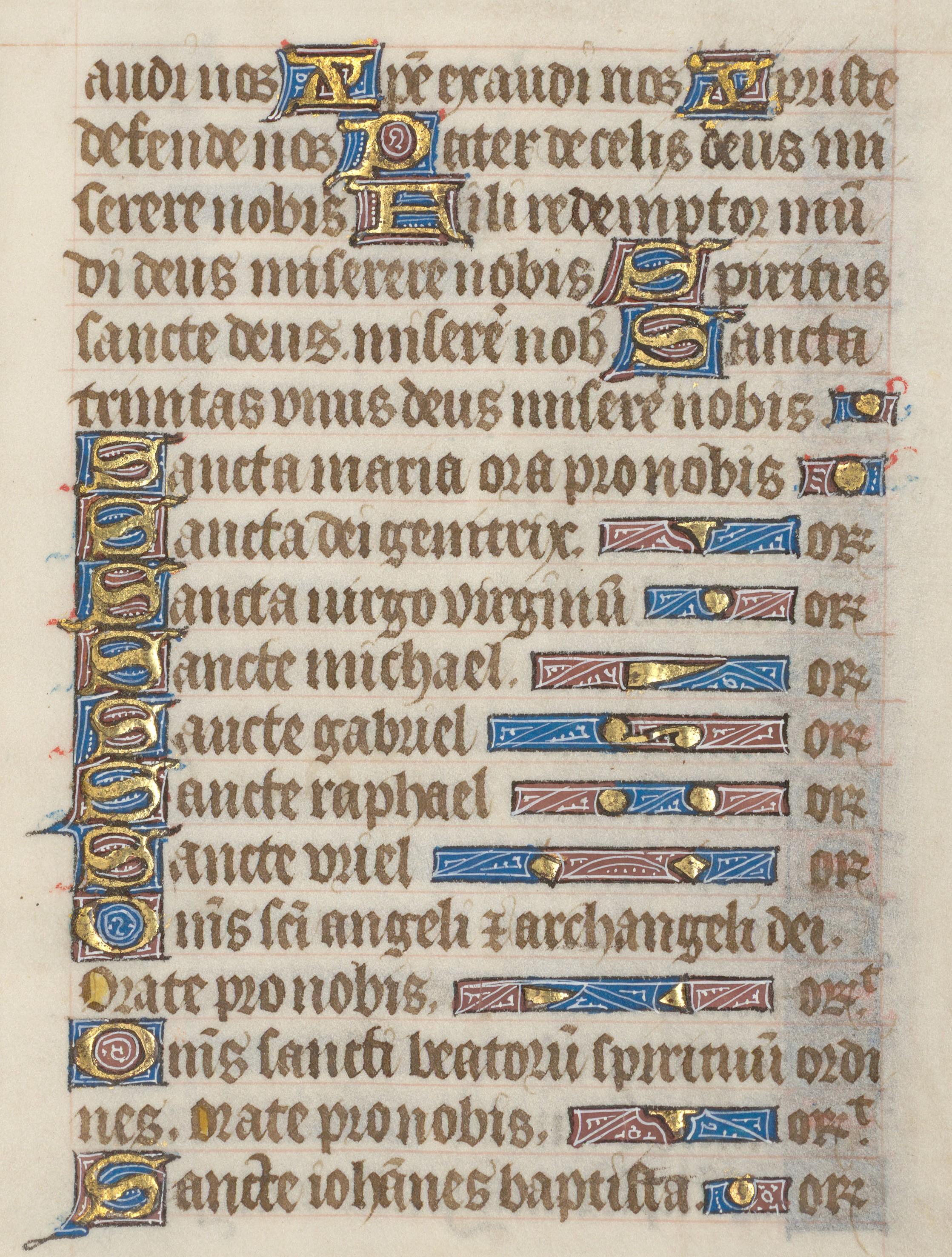 Contenu du Litanies du Ms 230 (Livres d'heures à l'usage de Toul)