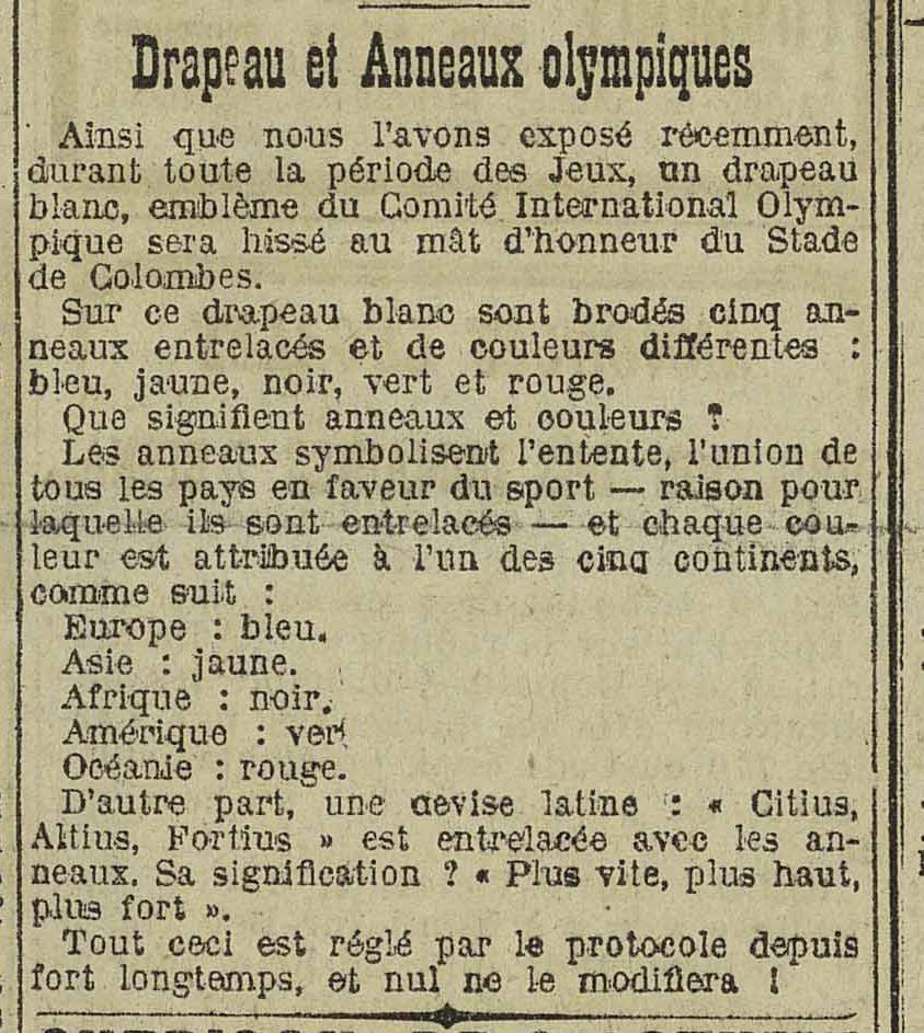Contenu du Drapeau et Anneaux olympiques - L'Express de l'Est, 21/03/1924