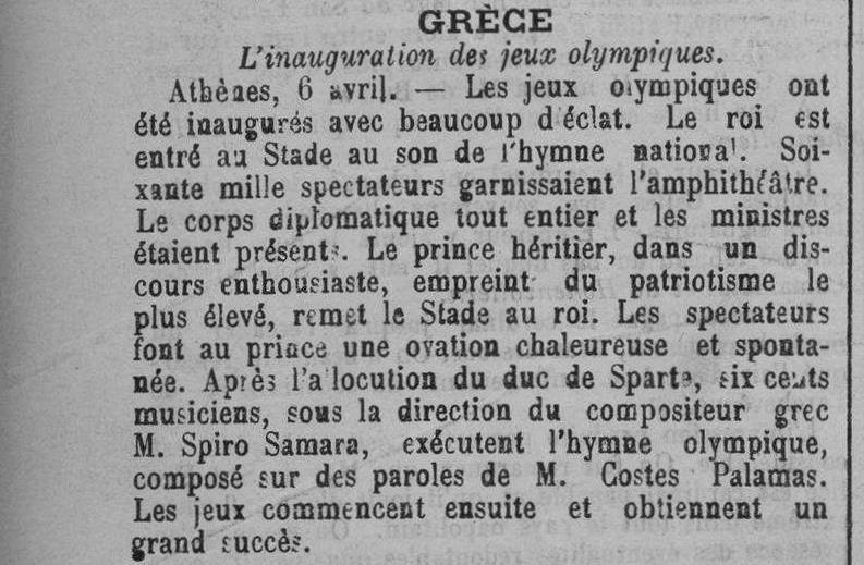 Contenu du GRÈCE  L'inauguration des jeux olympiques - Le Lorrain, 09/04/1896