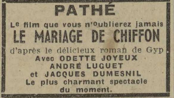 Contenu du Affiche publicitaire pour Le mariage de Chiffon, l'Echo de Nancy, 14 novembre 1942