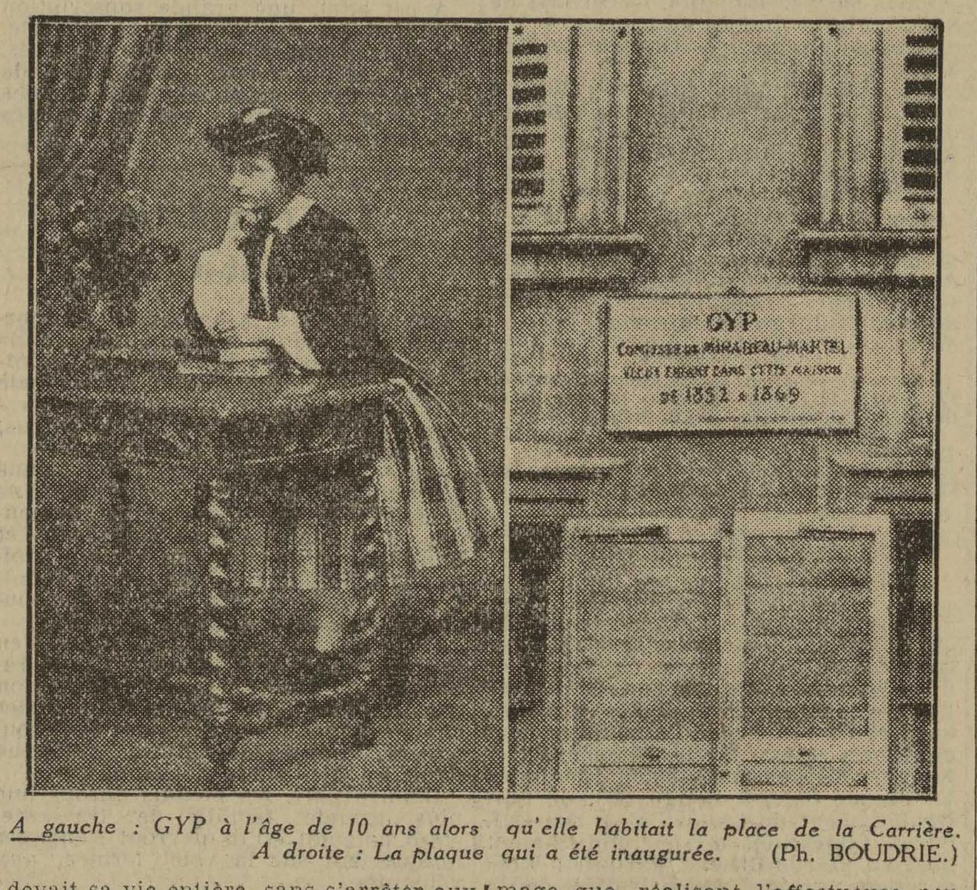 Contenu du L'Est Républicain, 6 juin 1934, illustration de l'article pour la pose de la plaque commémorative place Carrière à nancy