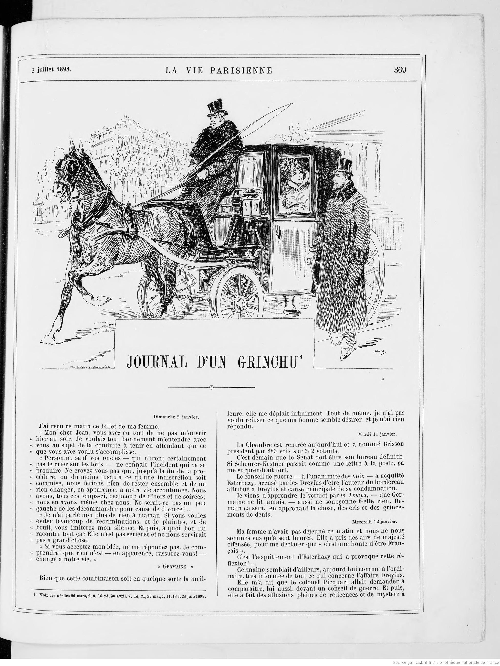 Contenu du La vie parisienne, 2 juillet 1898, feuilleton Le journal d'un grinchu