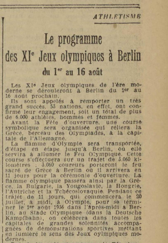 Contenu du Le programme des XIe Jeux olympiques à Berlin du 1er au 16 août - L'Est républicain, 02/07/1936