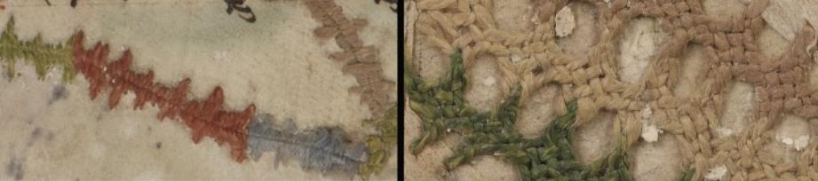 Contenu du Détail, à gauche d'une suture, à droite d'une broderie (Bibliothèques-Médiathèques de Metz, Ms 464)
