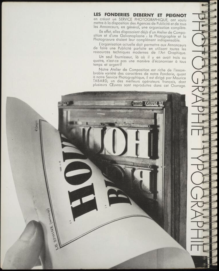 Contenu du Publicité Deberny-Peignot extraite de Arts et Métiers Graphiques (source The International Advertising & Design DataBase)