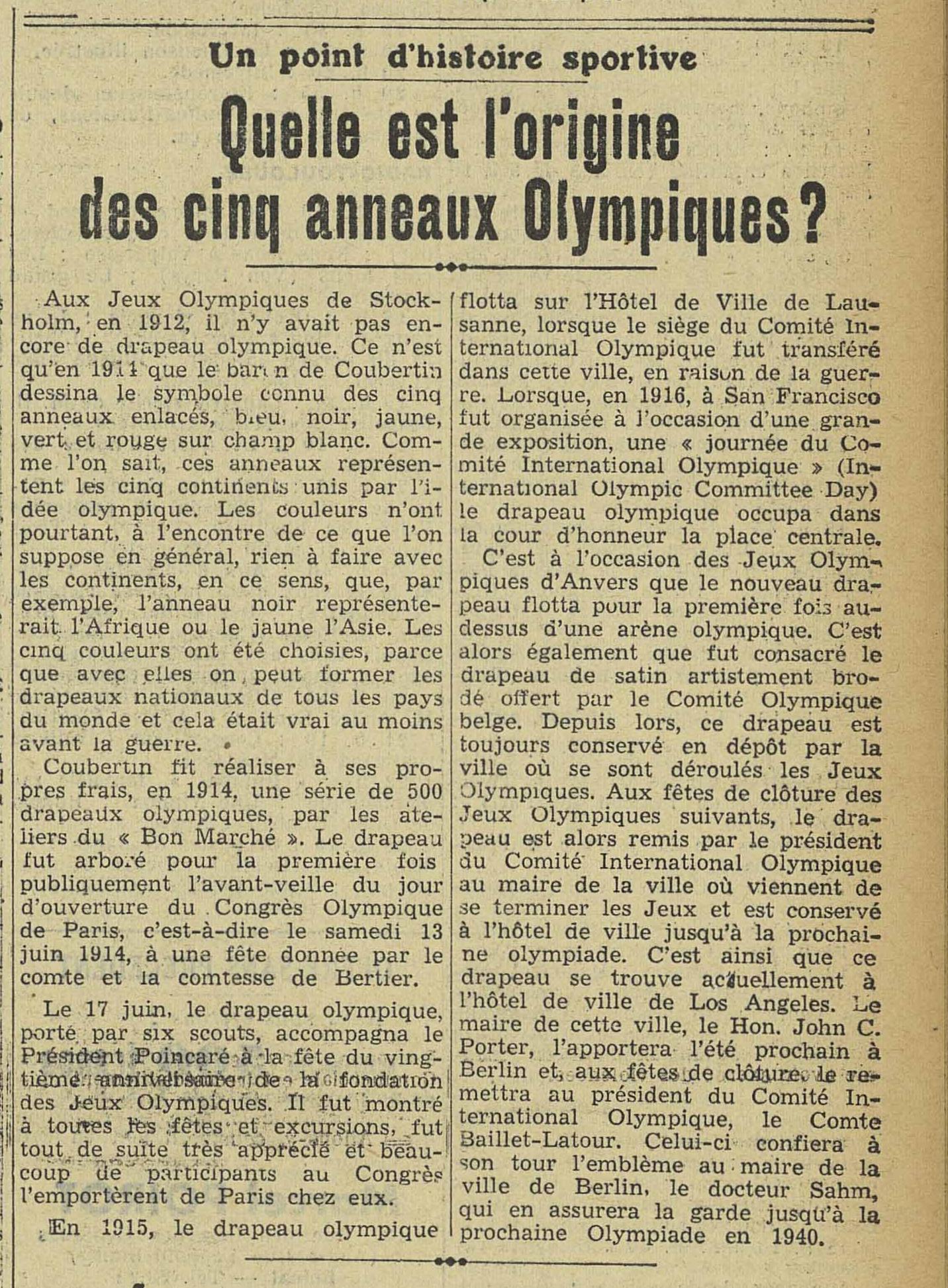 Contenu du Quelle est l'origine des cinq anneaux Olympiques  - L'Express de l'Est, 12/03/1936