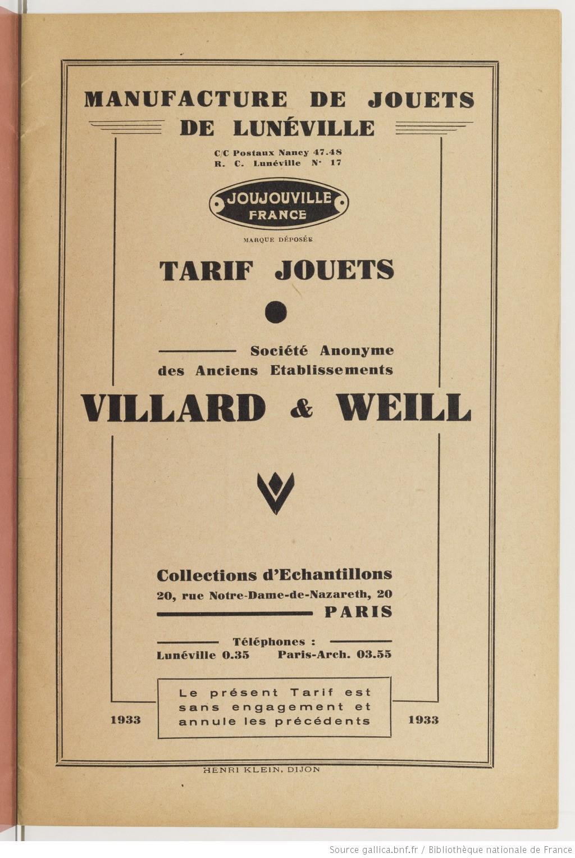 Contenu du Catalogue Villard et Weill 1933 1936