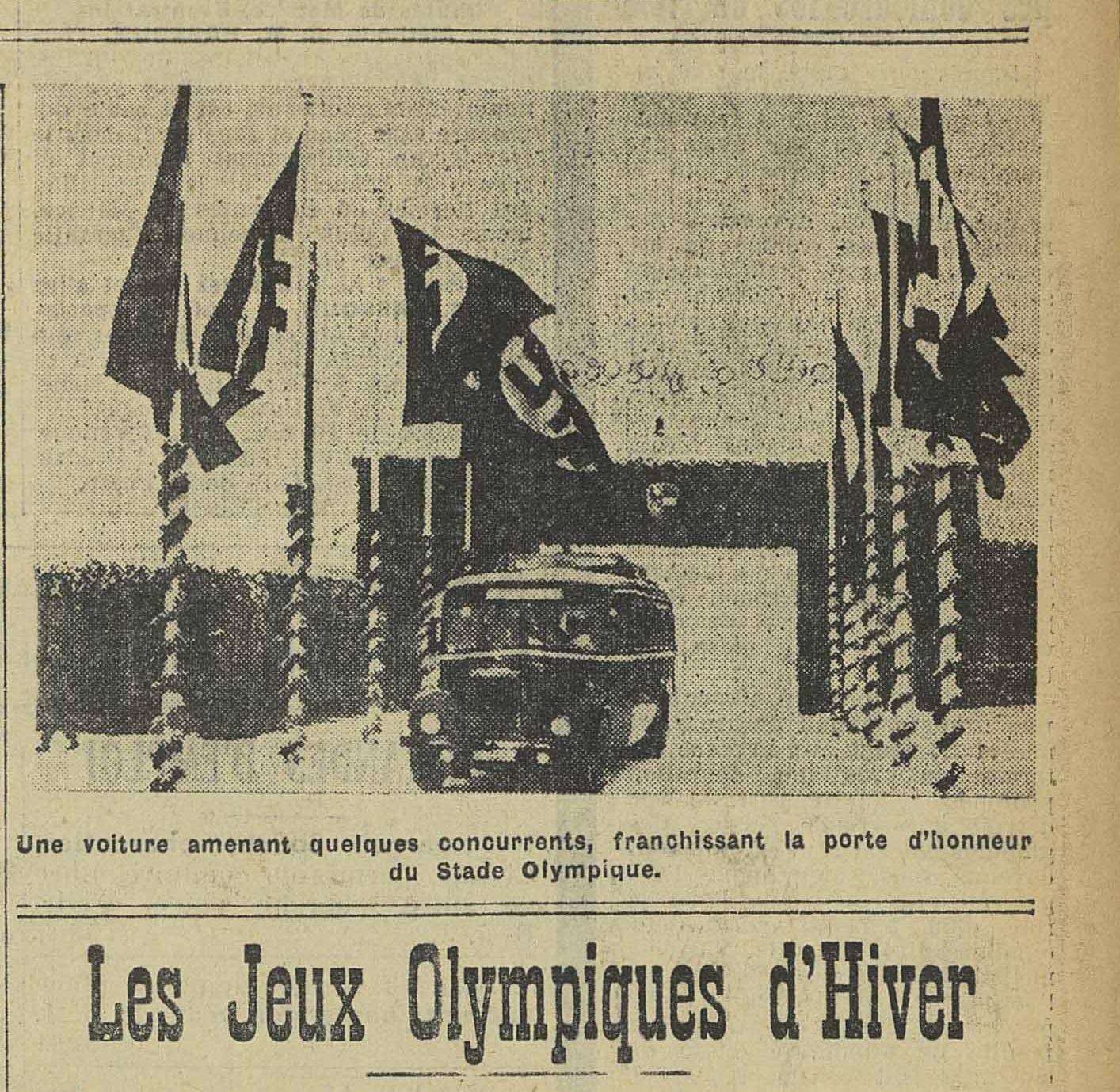 Contenu du Une voiture amenant quelques concurrents, franchissant la porte d'honneur du Stade Olympique - L'Express de l'Est, 08/02/1936