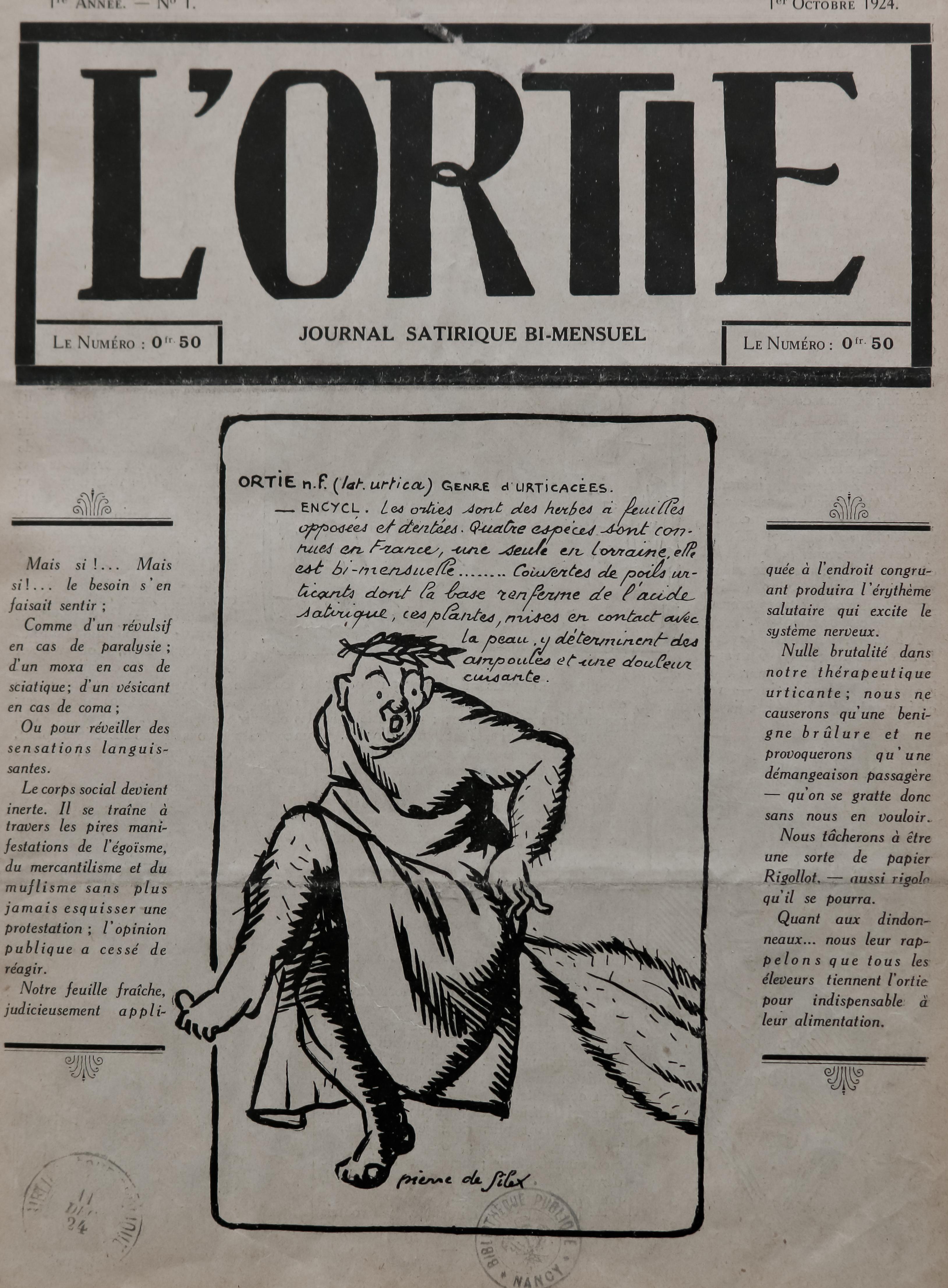 Contenu du L'ortie : No. 1, p. 1
